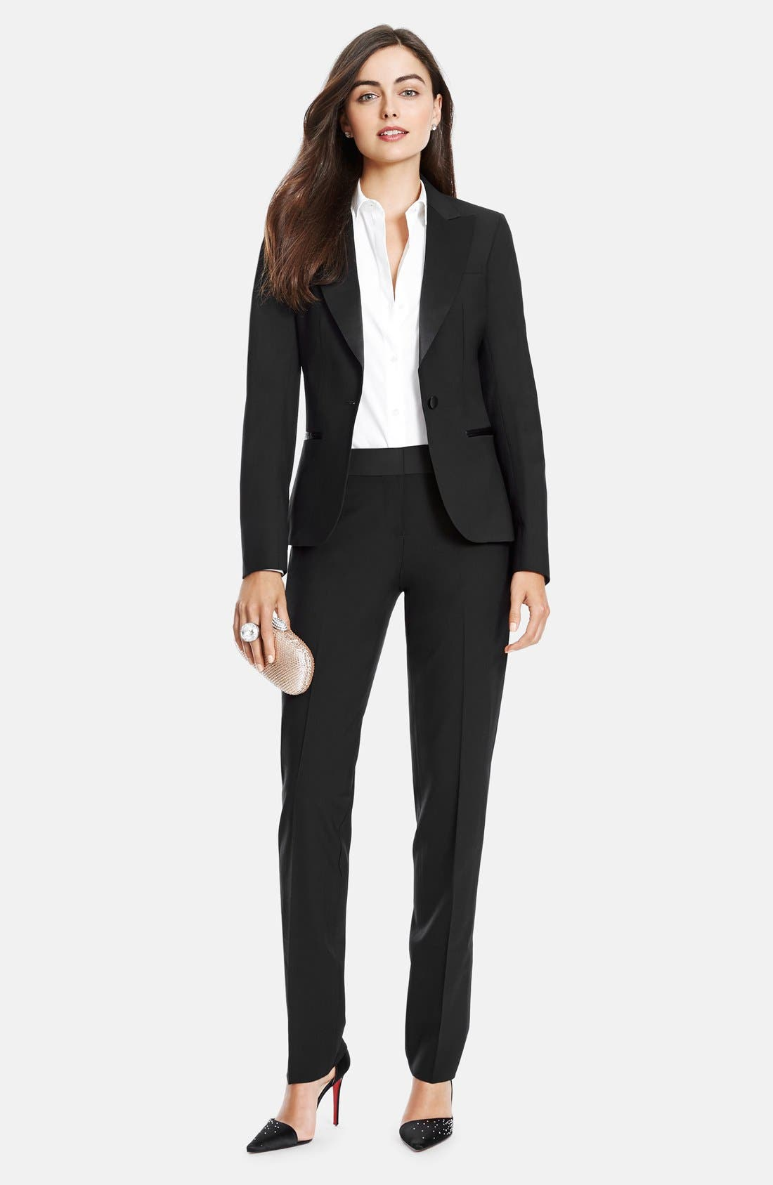 Stretch Wool Tuxedo Pants,                             Alternate thumbnail 5, color,                             Black
