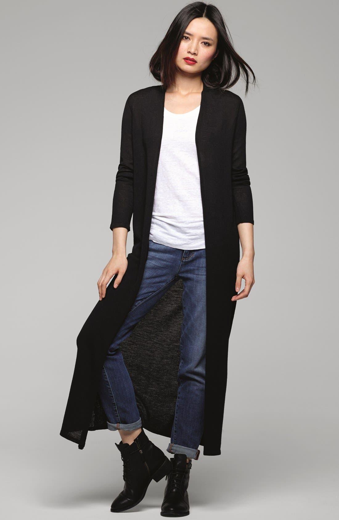 Alternate Image 2  - Eileen Fisher Long Wool Jersey Cardigan (Regular & Petite)