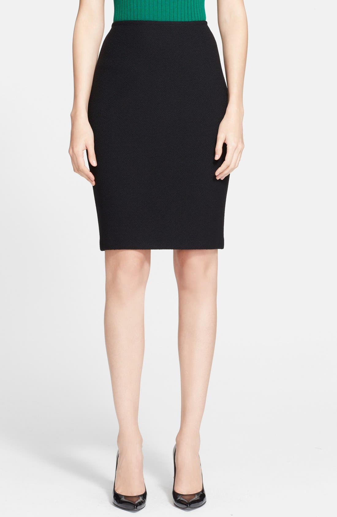 Nouveau Bouclé Knit Skirt,                             Main thumbnail 1, color,                             Caviar
