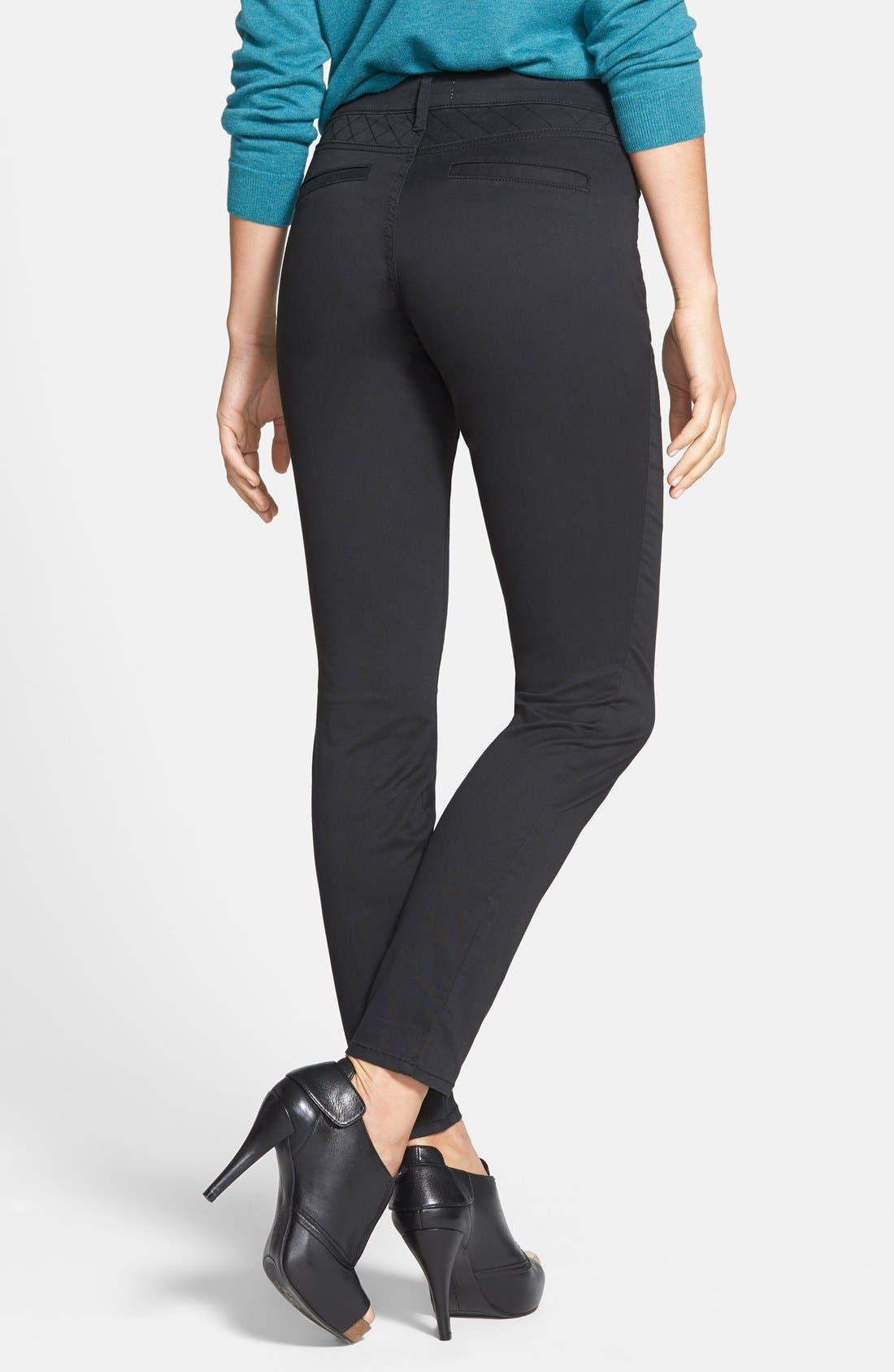 'Rockin Betty' Quilt Detail Pants,                             Alternate thumbnail 2, color,                             Black