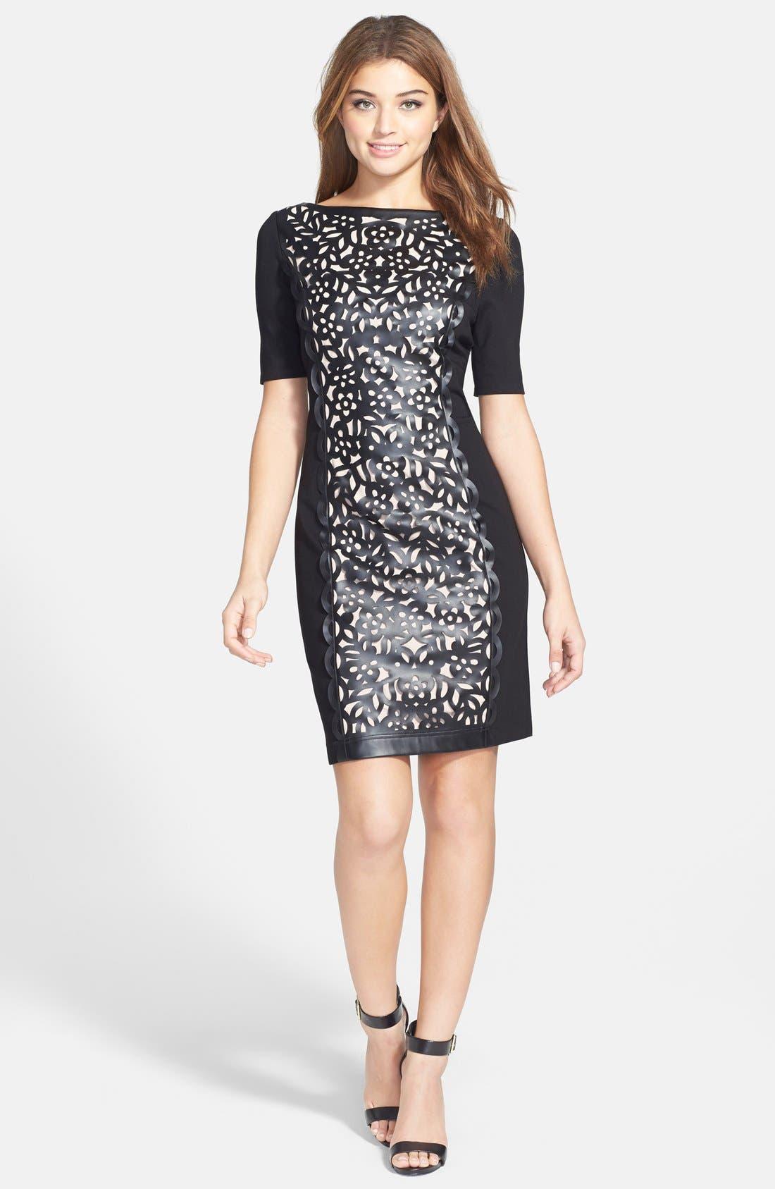 Alternate Image 3  - Nue by Shani Laser Cut Faux Leather & Ponte Sheath Dress