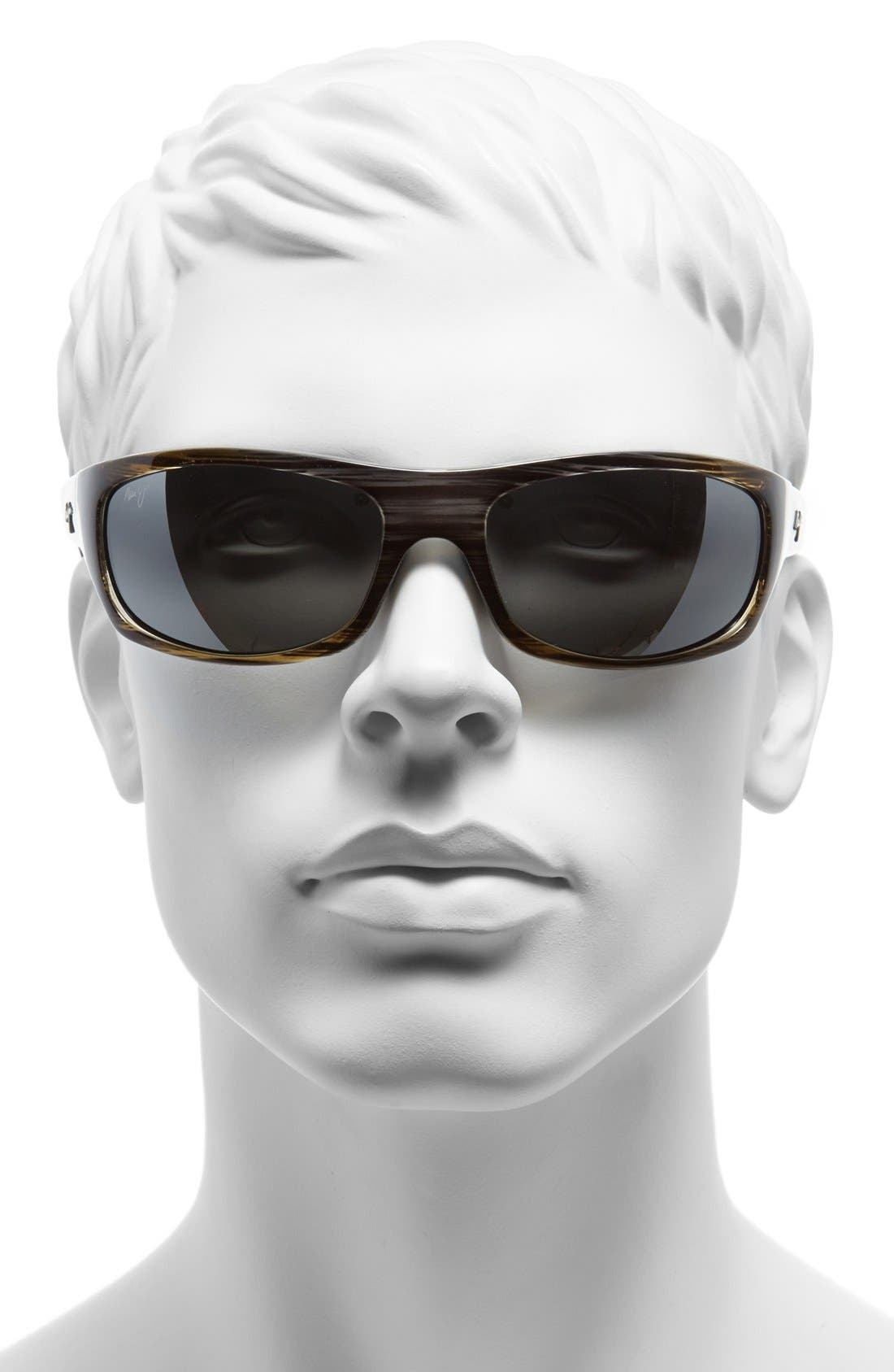 'Surf Rider - PolarizedPlus<sup>®</sup>2' 63mm Sunglasses,                             Alternate thumbnail 2, color,                             Grey/ Black