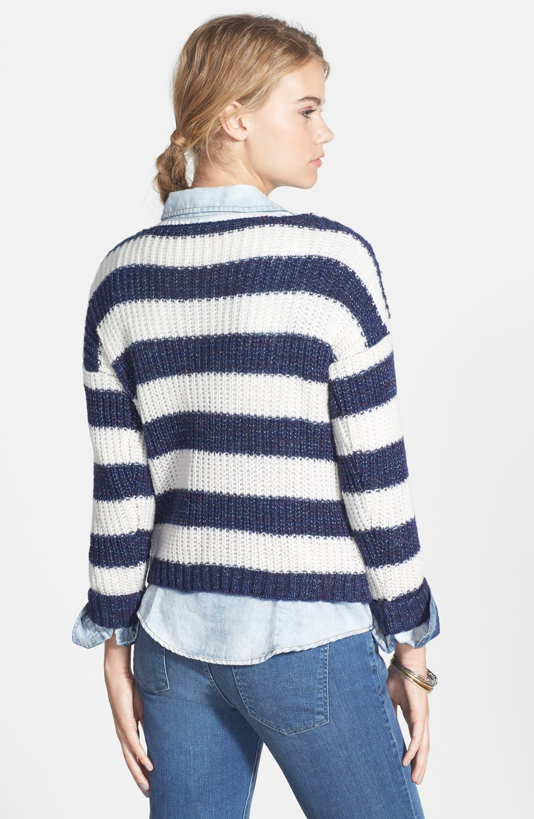 Alternate Image 2  - Love by Design Stripe Ribbed Pullover (Juniors)
