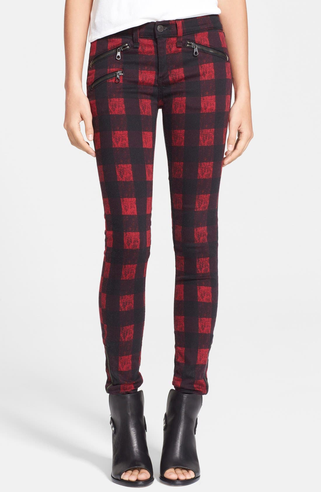 Main Image - rag & bone/JEAN Zip Detail Print Denim Leggings (Red Buffalo)