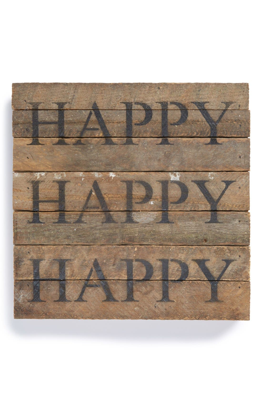 Main Image - Second Nature by Hand 'Happy Happy Happy' Repurposed Wood Wall Art