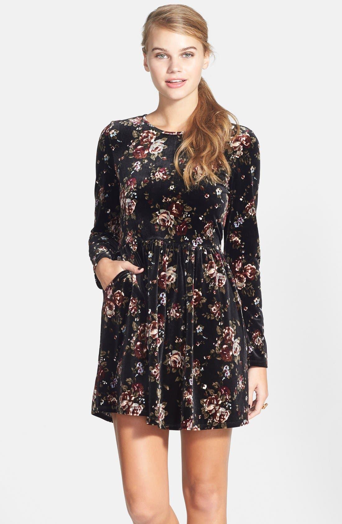 Main Image - One Clothing Print Velvet Skater Dress (Juniors)