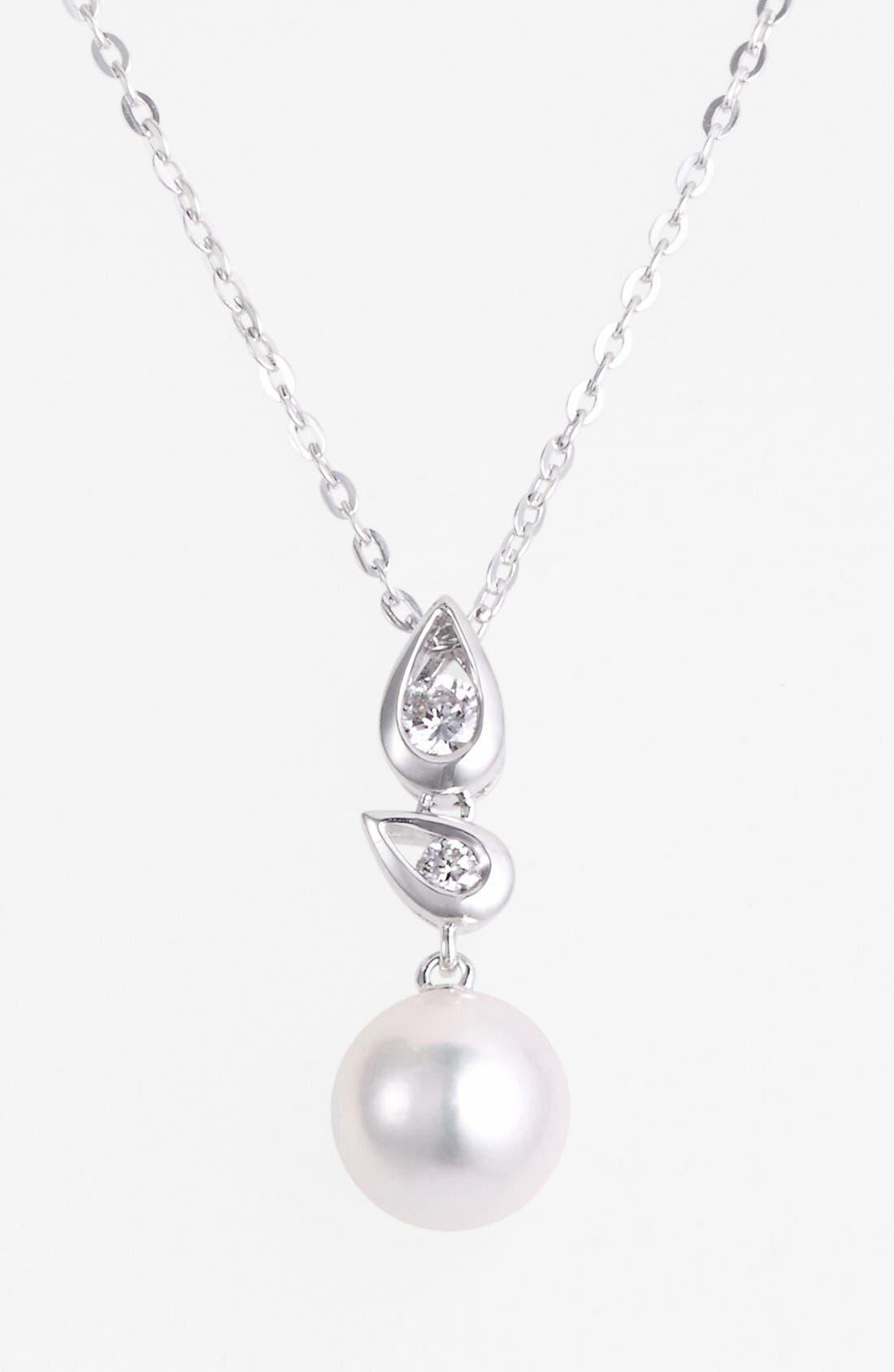 Alternate Image 1 Selected - Mikimoto Akoya Pearl & Diamond Pendant Necklace