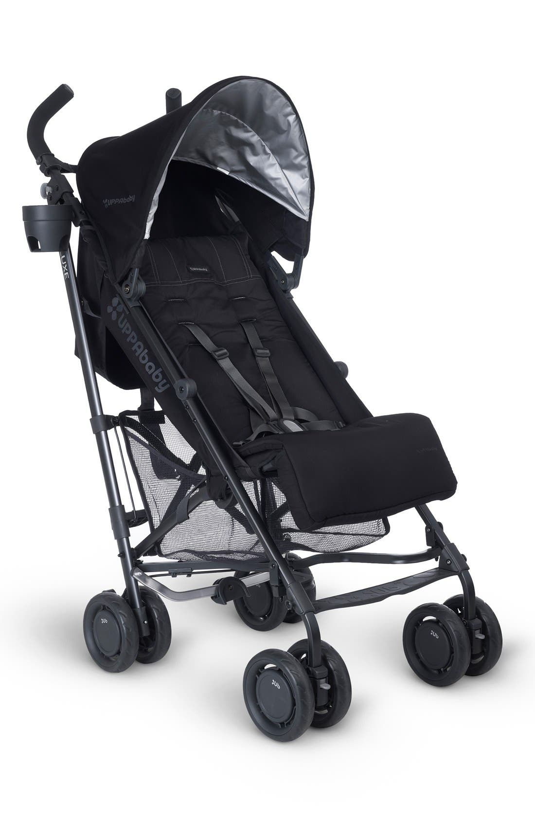 G-LUXE - Black Frame Reclining Umbrella Stroller,                             Main thumbnail 1, color,                             Jake Black/ Carbon