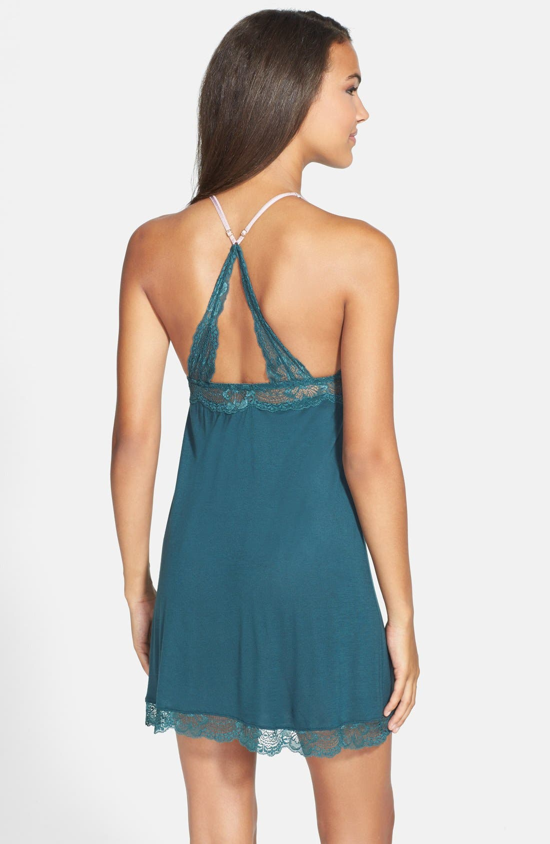'Everly' Brushed Jersey Racerback Chemise,                             Alternate thumbnail 2, color,                             Evergreen