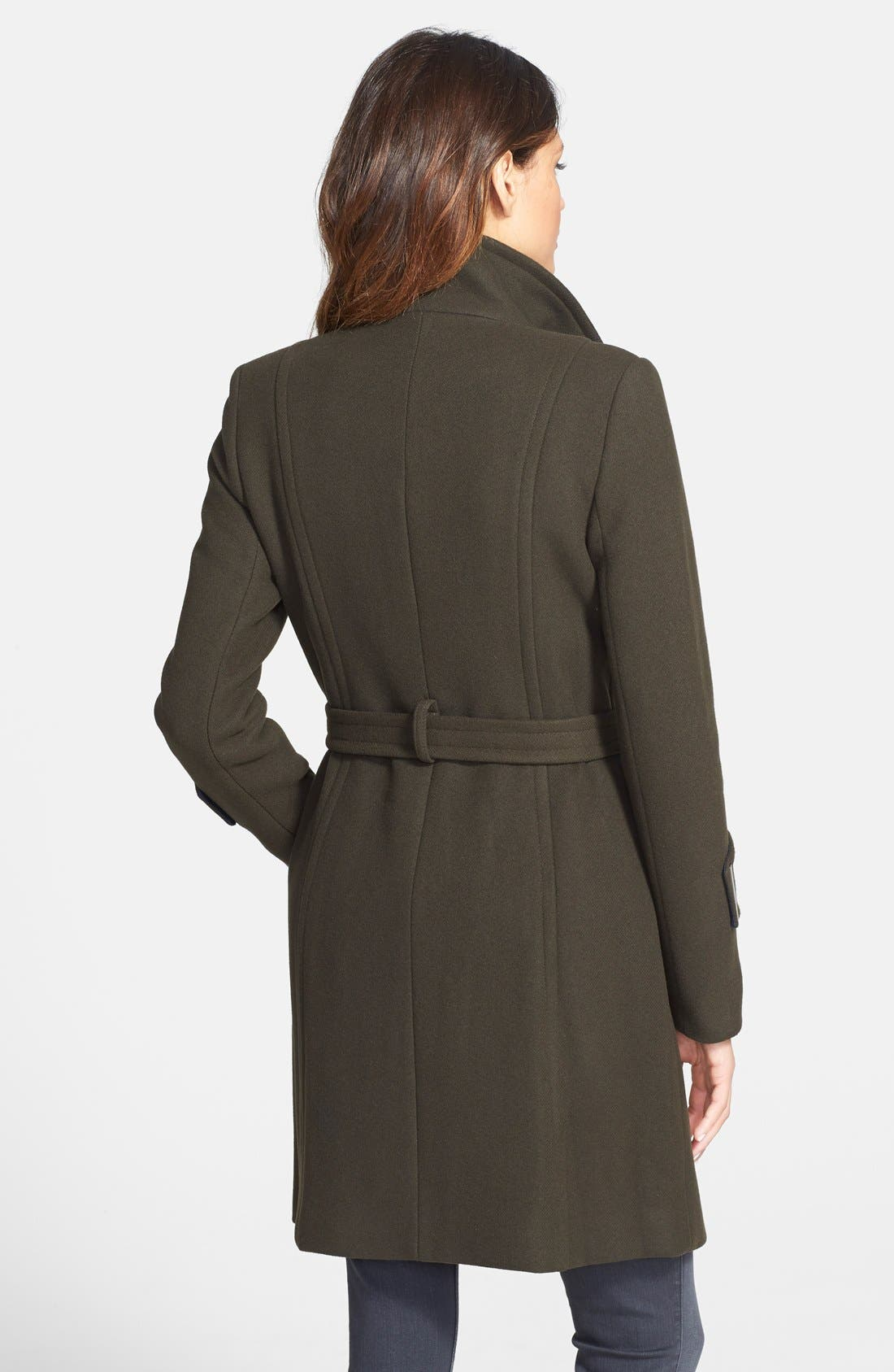 Alternate Image 2  - Elie Tahari 'India' Stand Collar Belted Wool Blend Coat