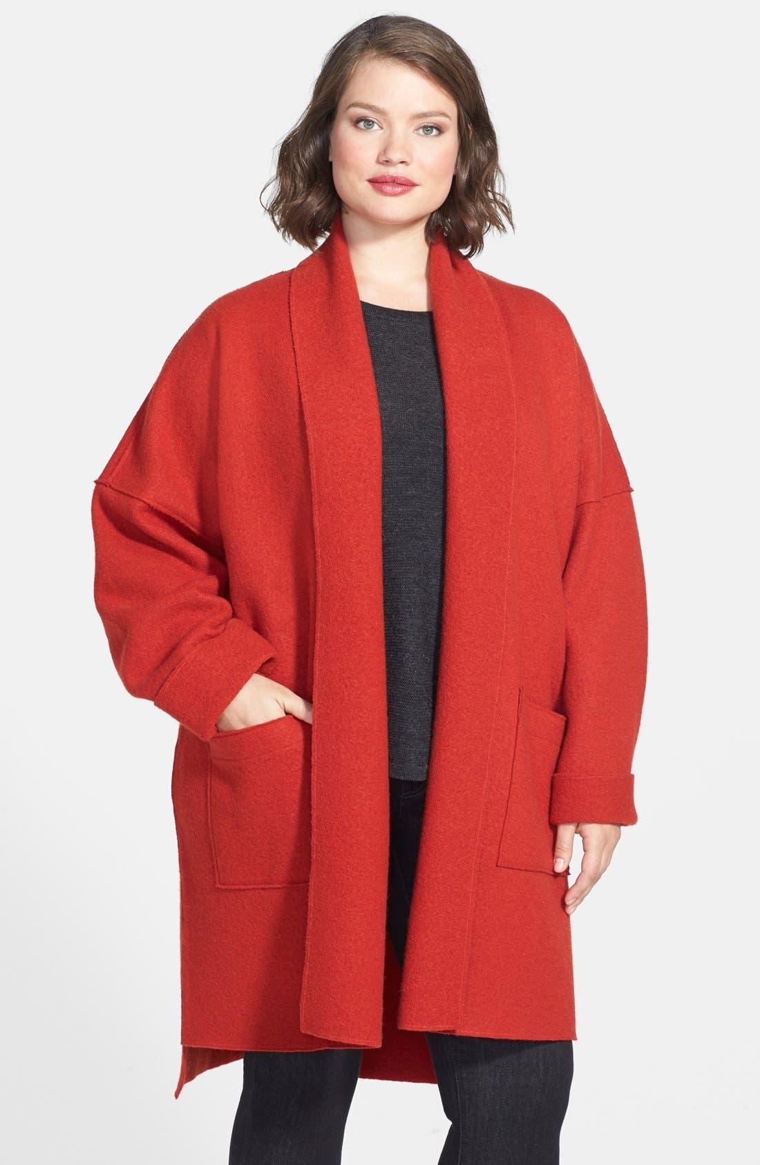Main Image - Eileen Fisher Boiled Wool Kimono Coat (Plus Size)