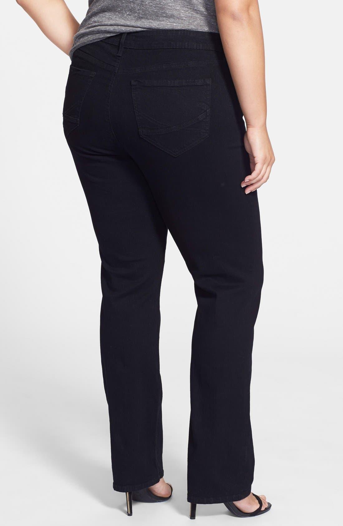 Alternate Image 2  - NYDJ 'Marilyn' Stretch Straight Leg Jeans (Black) (Plus Size)