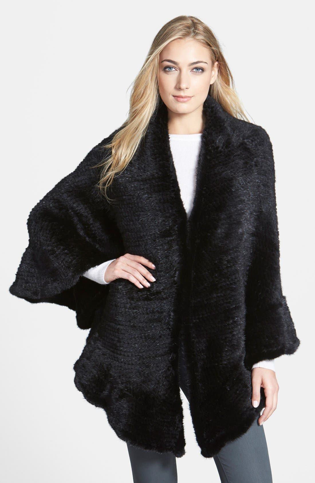 Genuine Mink Knit Shawl,                         Main,                         color, Black
