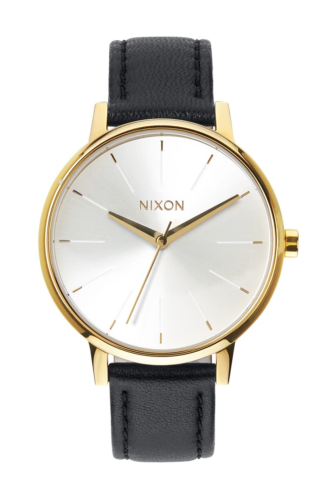 'The Kensington' Leather Strap Watch, 37mm,                         Main,                         color, Gold/ White/ Black