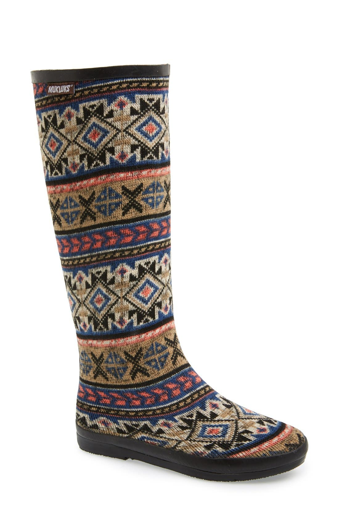 MUK LUKS 'Aubrie' Fair Isle Knit Rain Boot (Women) | Nordstrom