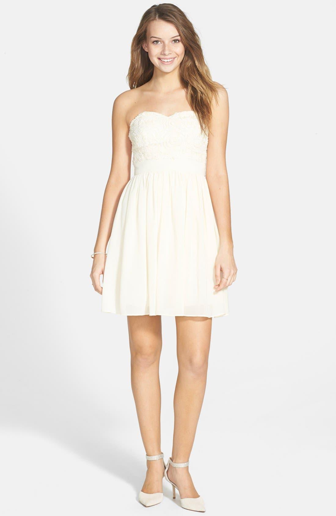 Alternate Image 1 Selected - a. drea Embellished Bodice Strapless Skater Dress (Juniors)