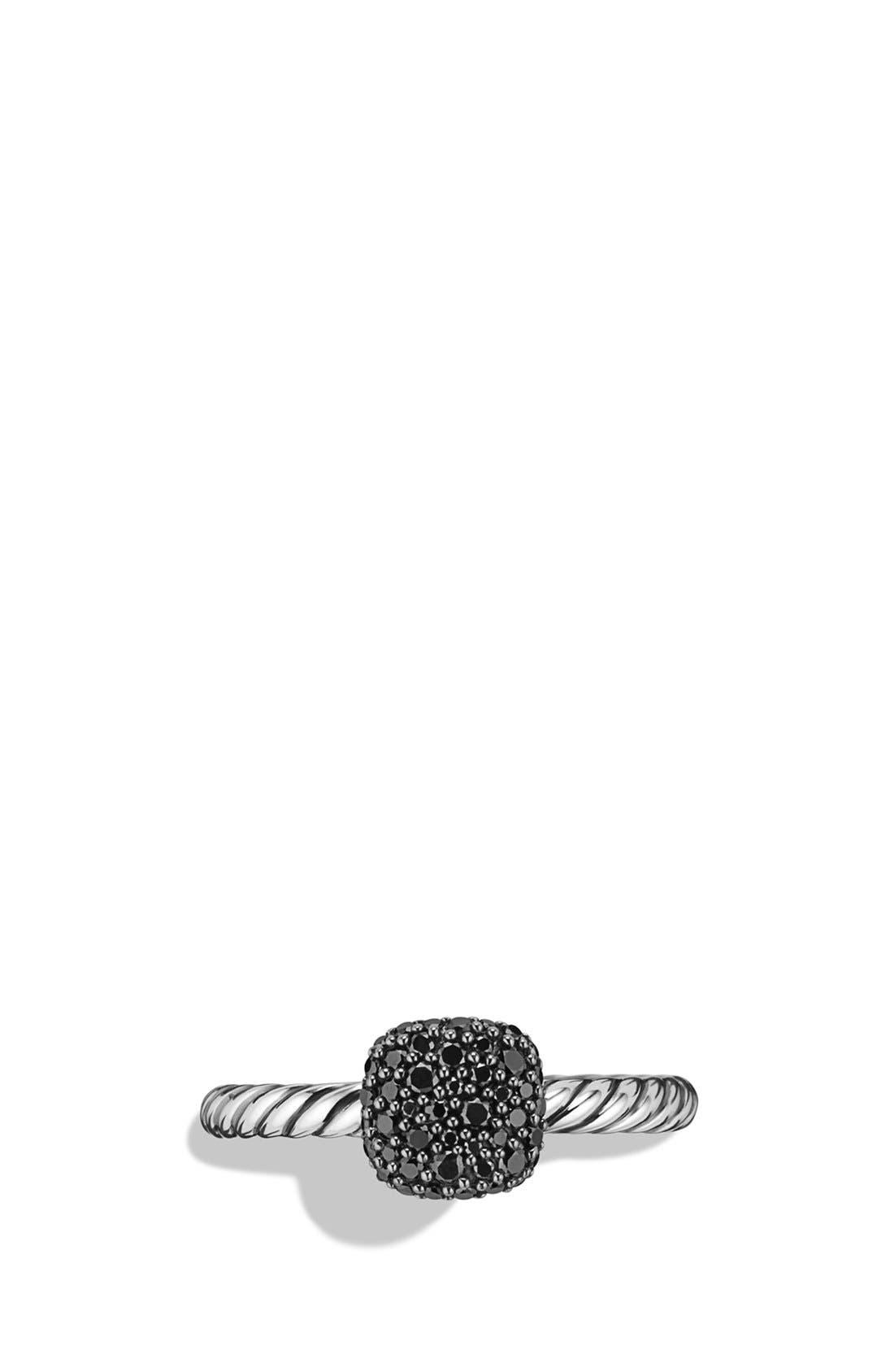 Alternate Image 2  - David Yurman 'Pavé' Cushion Ring with Black Diamonds
