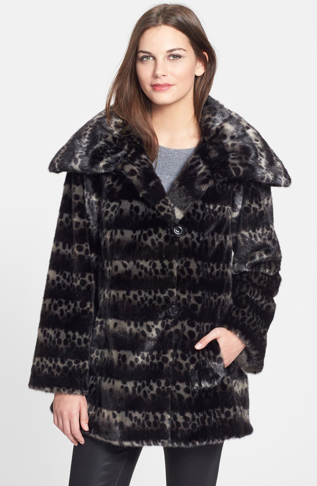 Alternate Image 1 Selected - Gallery Ombré Faux Fur Coat (Regular & Petite) (Online Only)