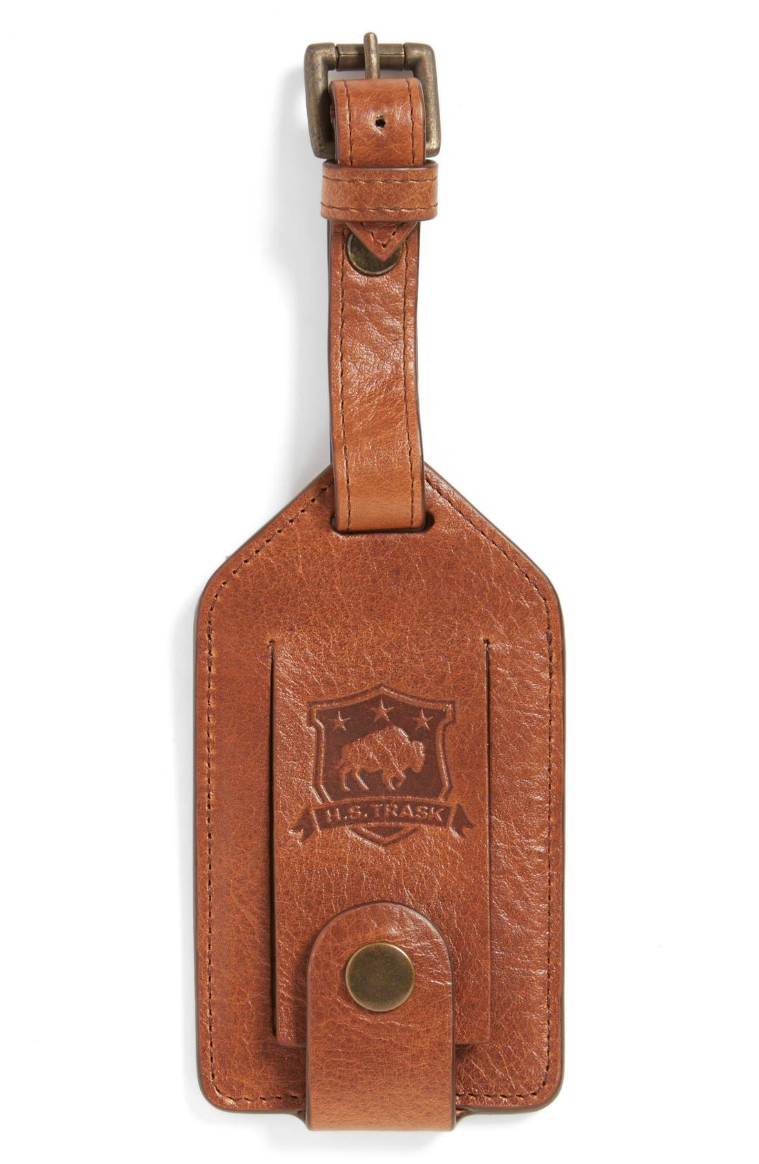 TRASK Jackson Bison Leather Luggage Tag