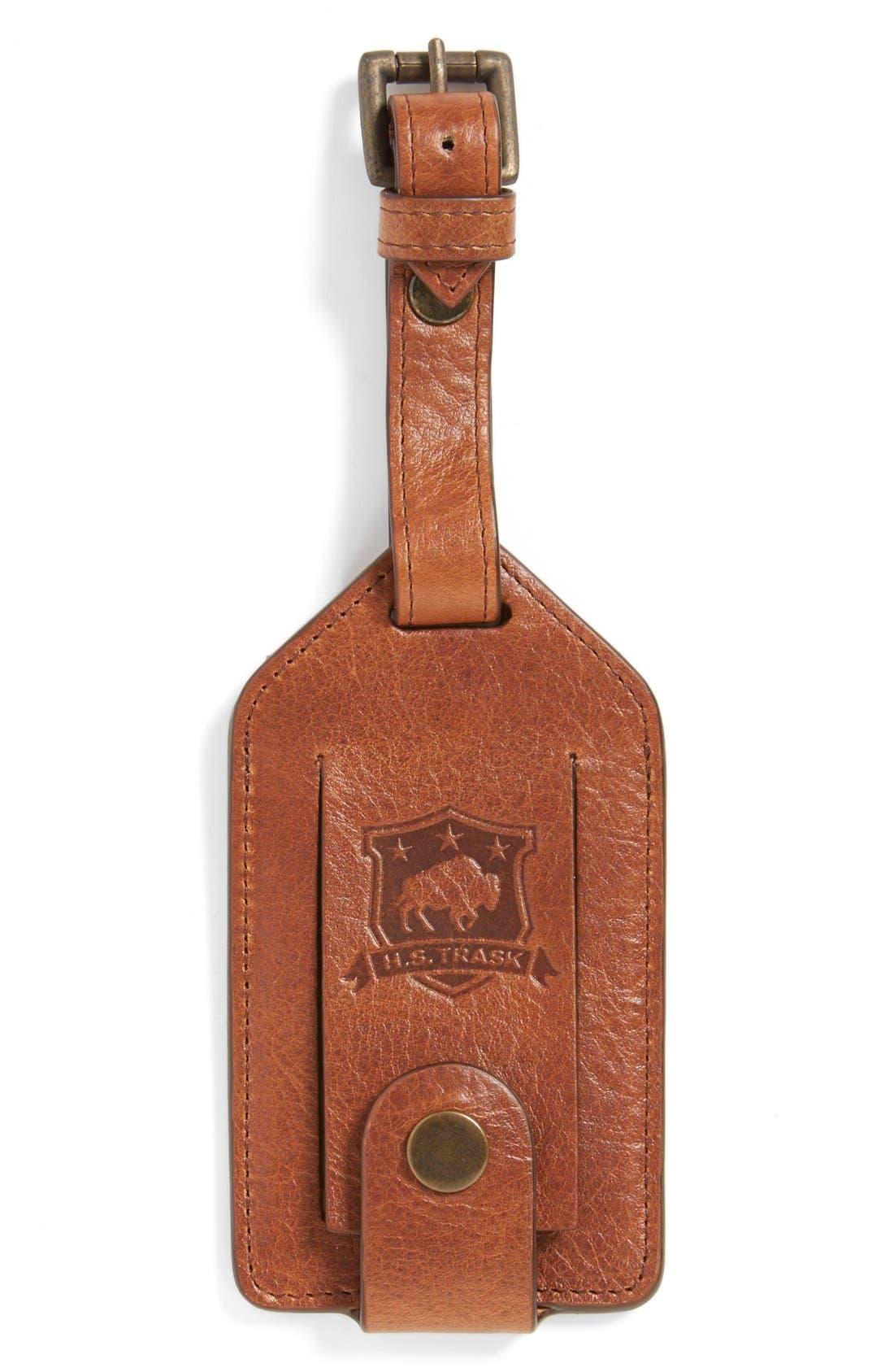 'Jackson' Bison Leather Luggage Tag,                         Main,                         color, Cognac American Bison