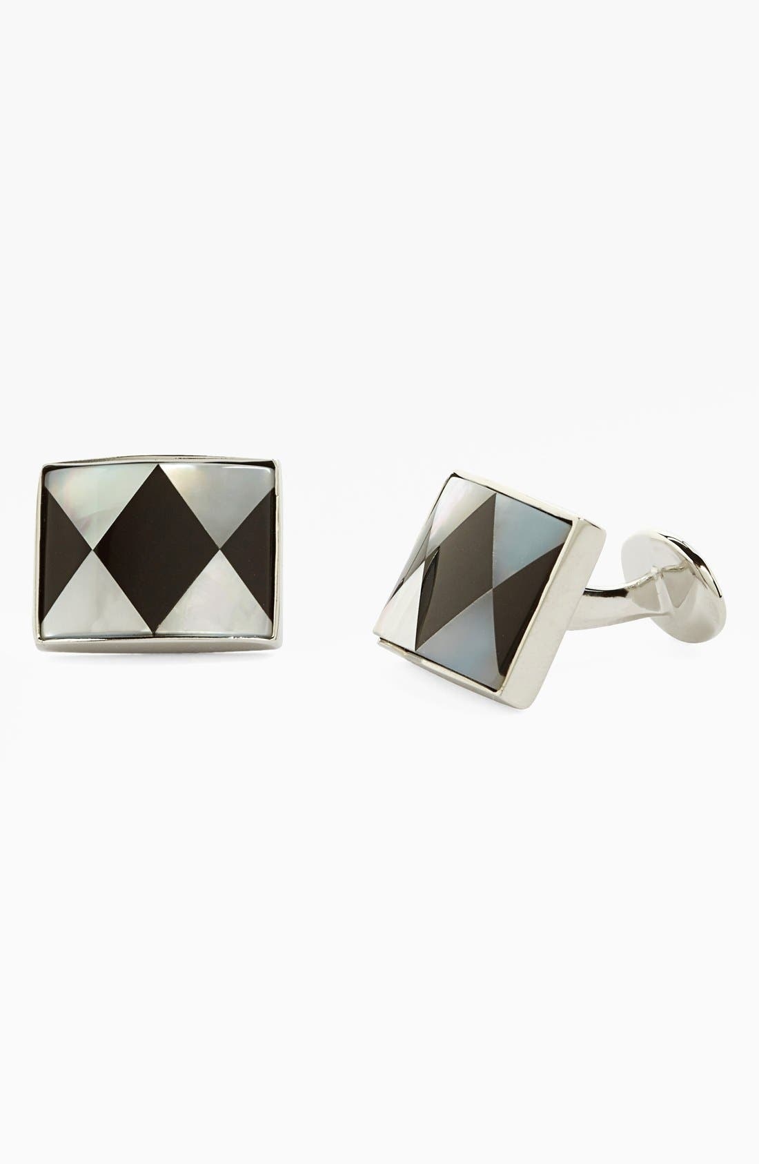 Onyx & Mother of Pearl Cuff Links,                         Main,                         color, Silver/ Onyx/ Mother Of Pearl