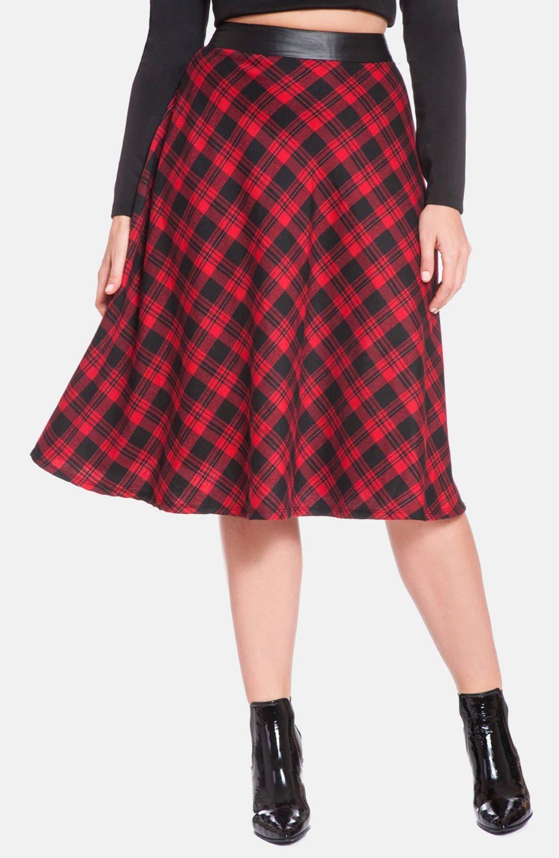 Main Image - ELOQUII Tartan Plaid Midi Skirt (Plus Size)
