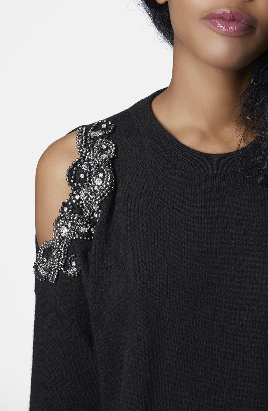 Alternate Image 4  - Topshop Embellished Cold Shoulder Sweater