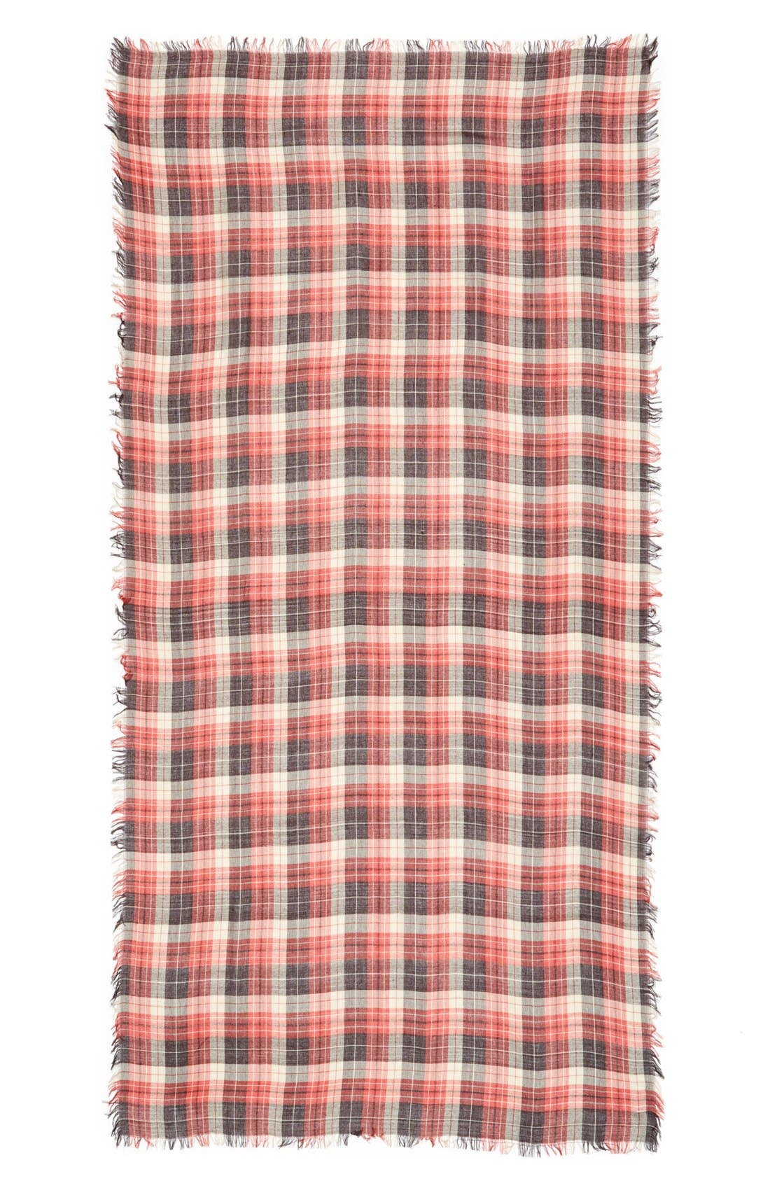 Plaid Scarf,                             Alternate thumbnail 2, color,                             Red