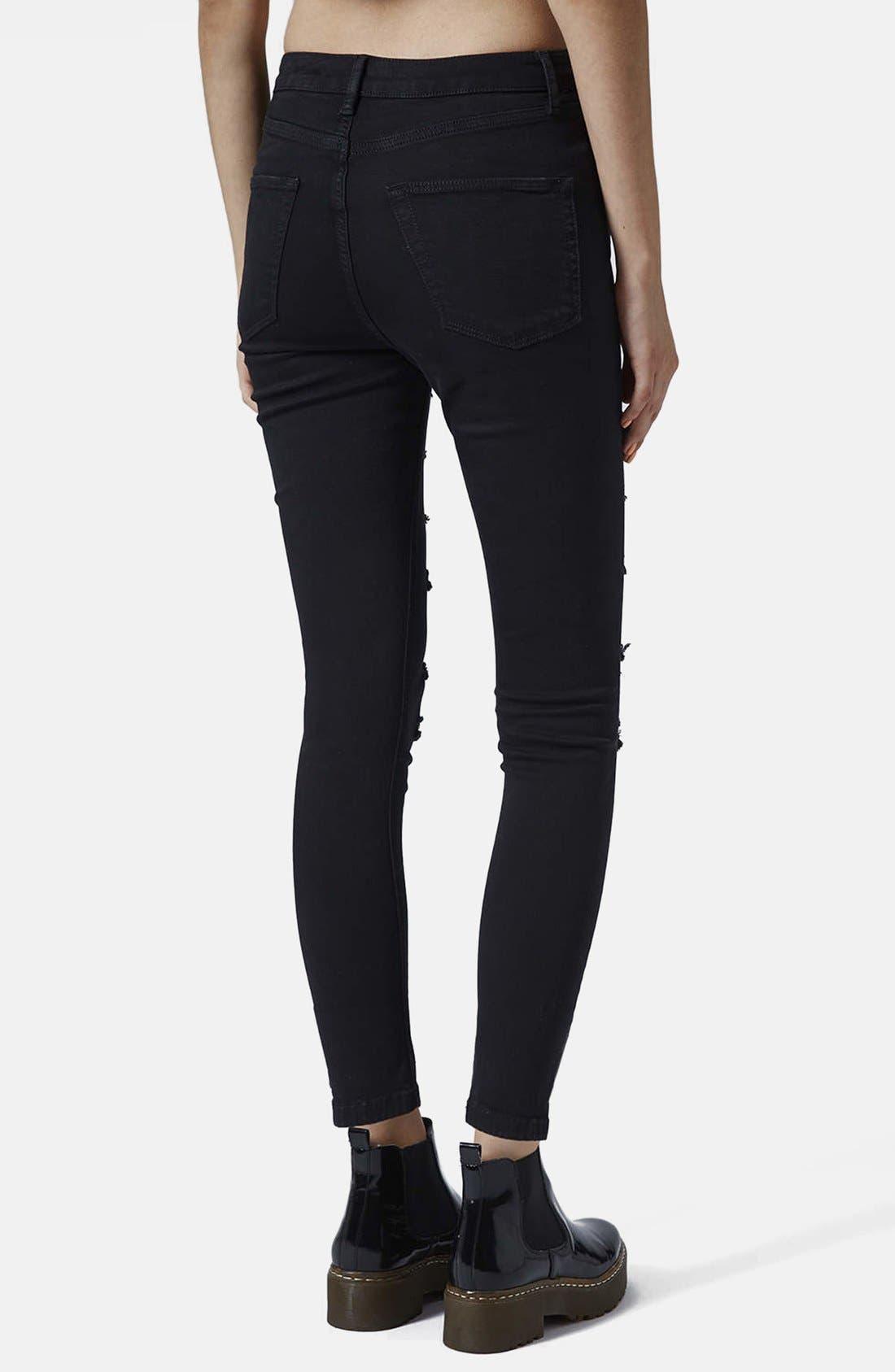 Alternate Image 2  - Topshop 'Jamie' Ripped High Rise Skinny Jeans (Black)