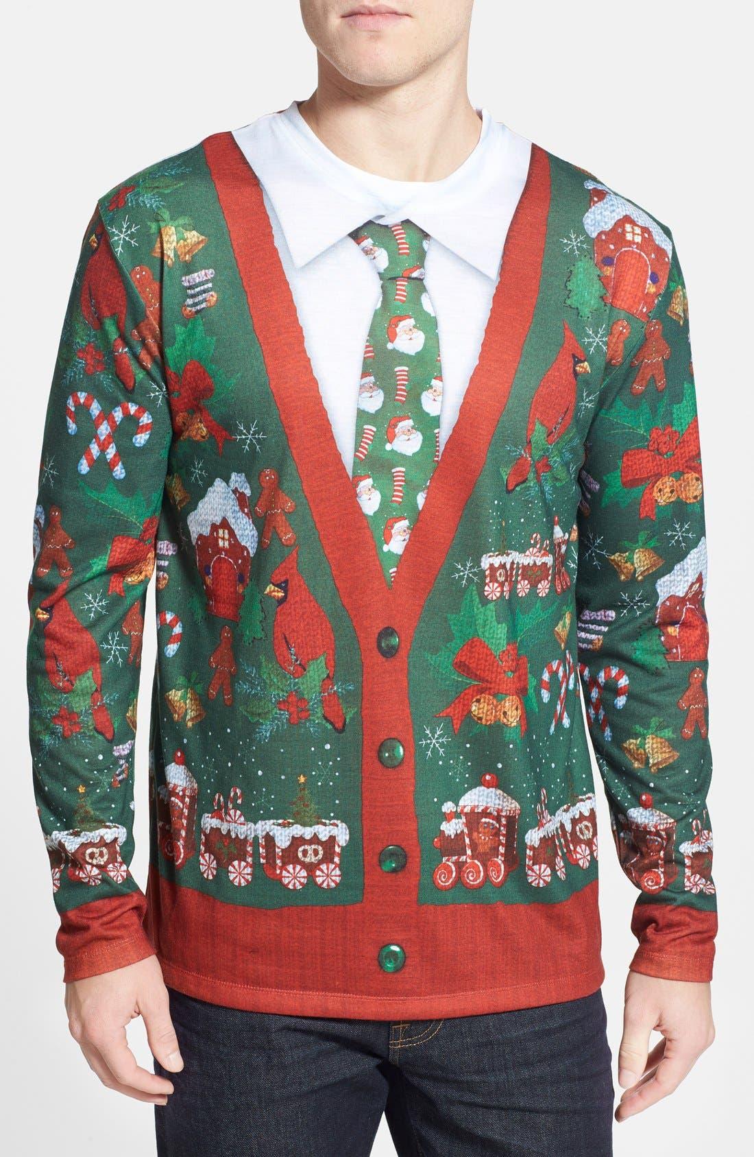 Faux Real 'Ugly Christmas Cardigan' Long Sleeve T-Shirt (Men)