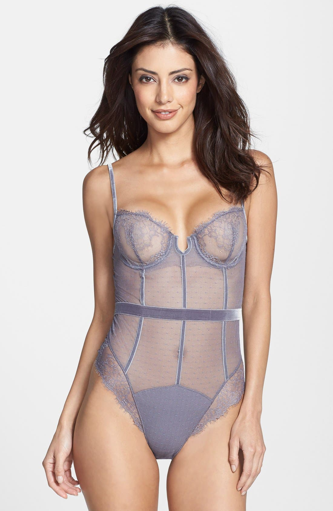Alternate Image 1 Selected - Simone Perele Swiss Dot Tulle Thong Bodysuit
