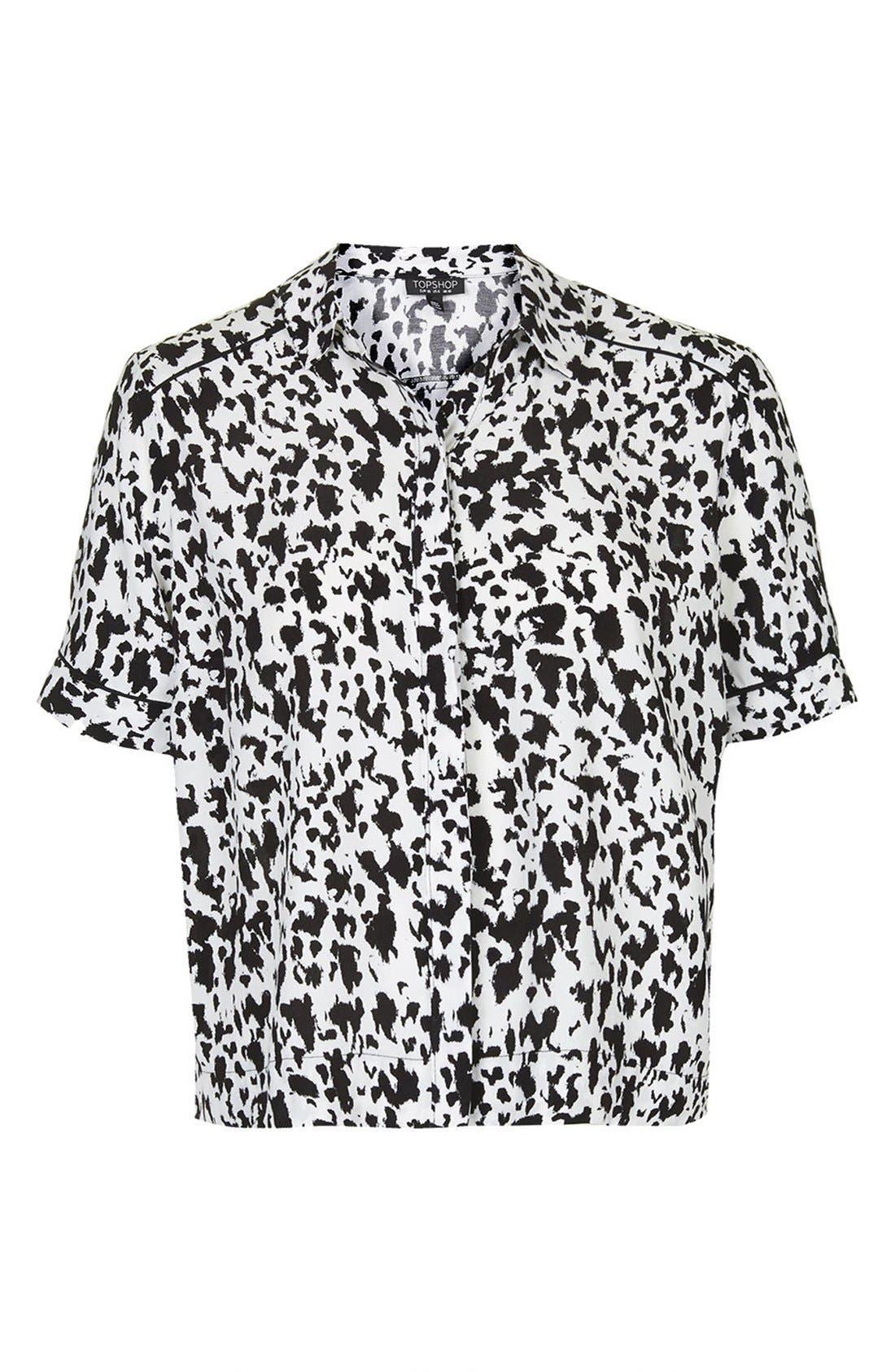 Alternate Image 3  - Topshop Monochrome Animal Print Shirt