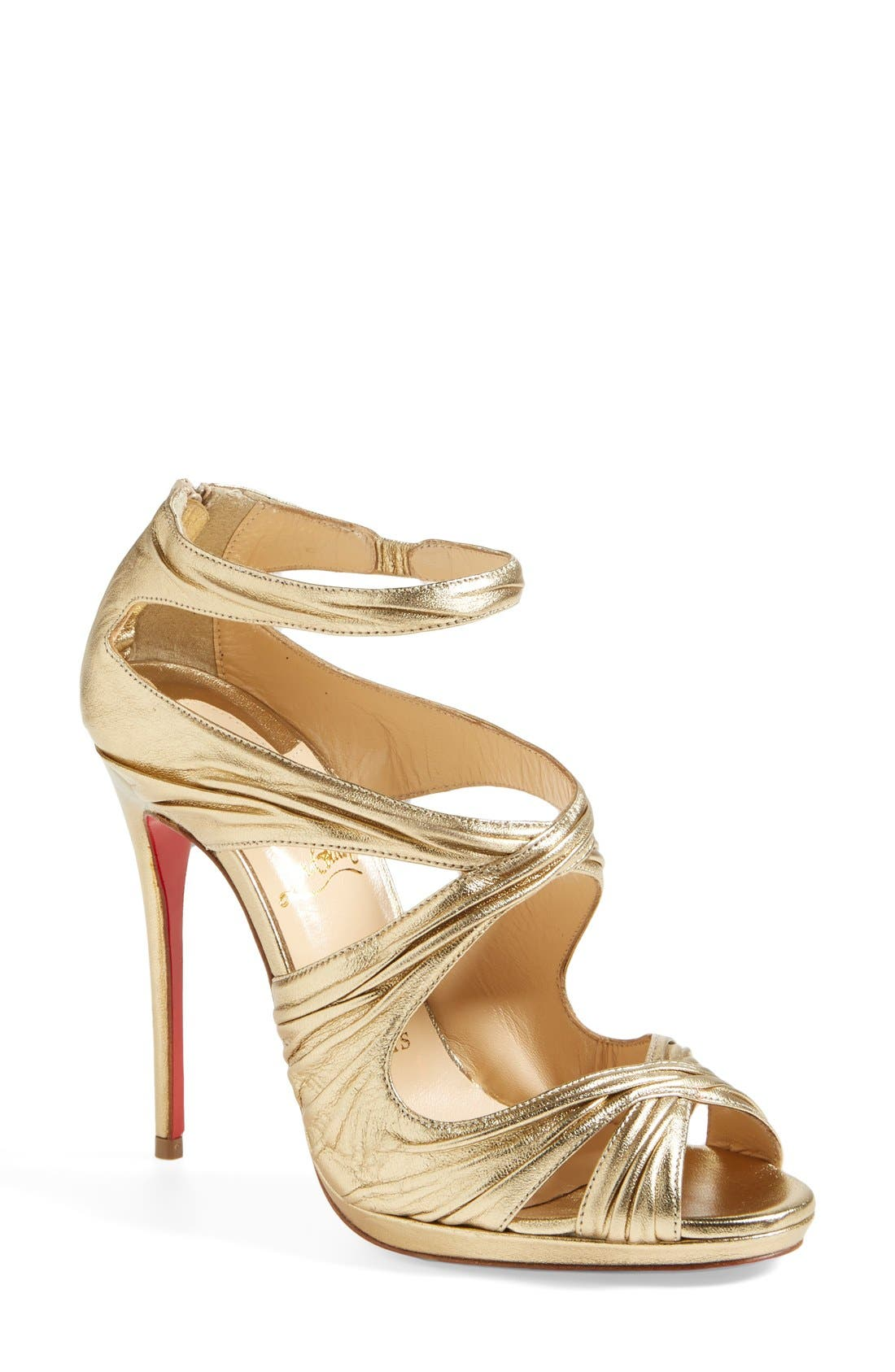 Alternate Image 1 Selected - Christian Louboutin 'Kashou' Metallic Nappa Leather Sandal