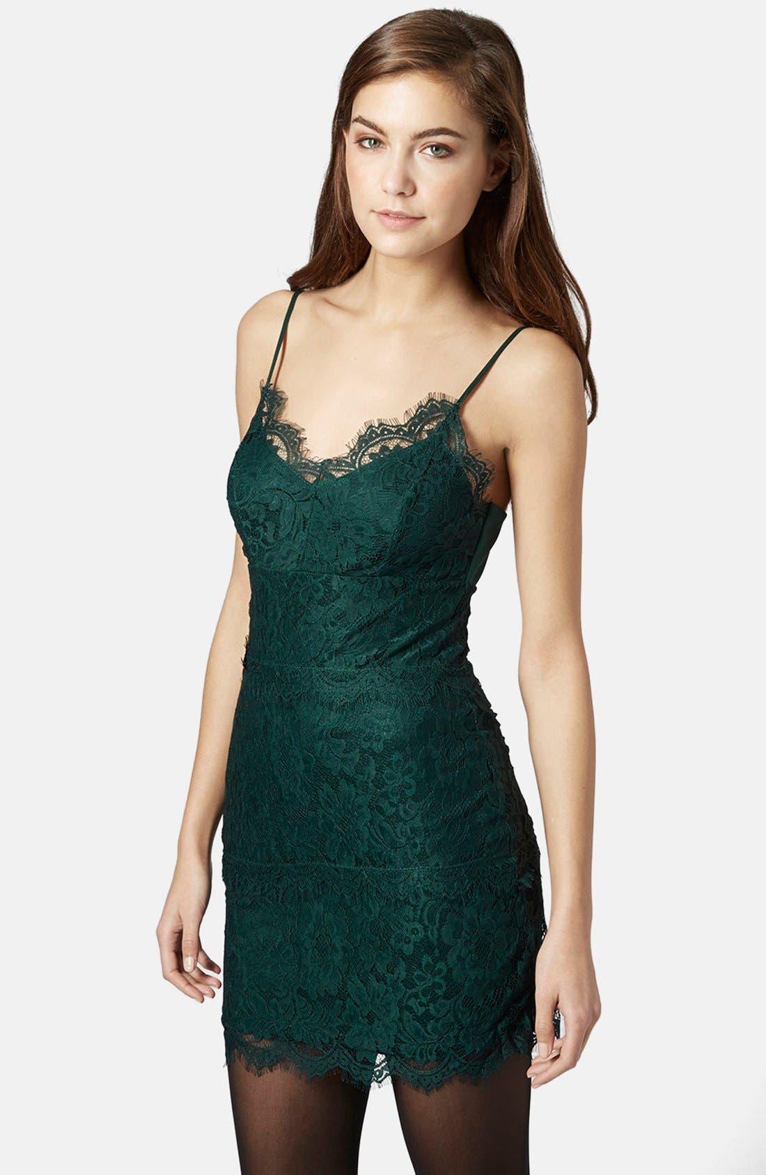 Main Image - Topshop Lace Body-Con Slipdress (Regular & Petite)