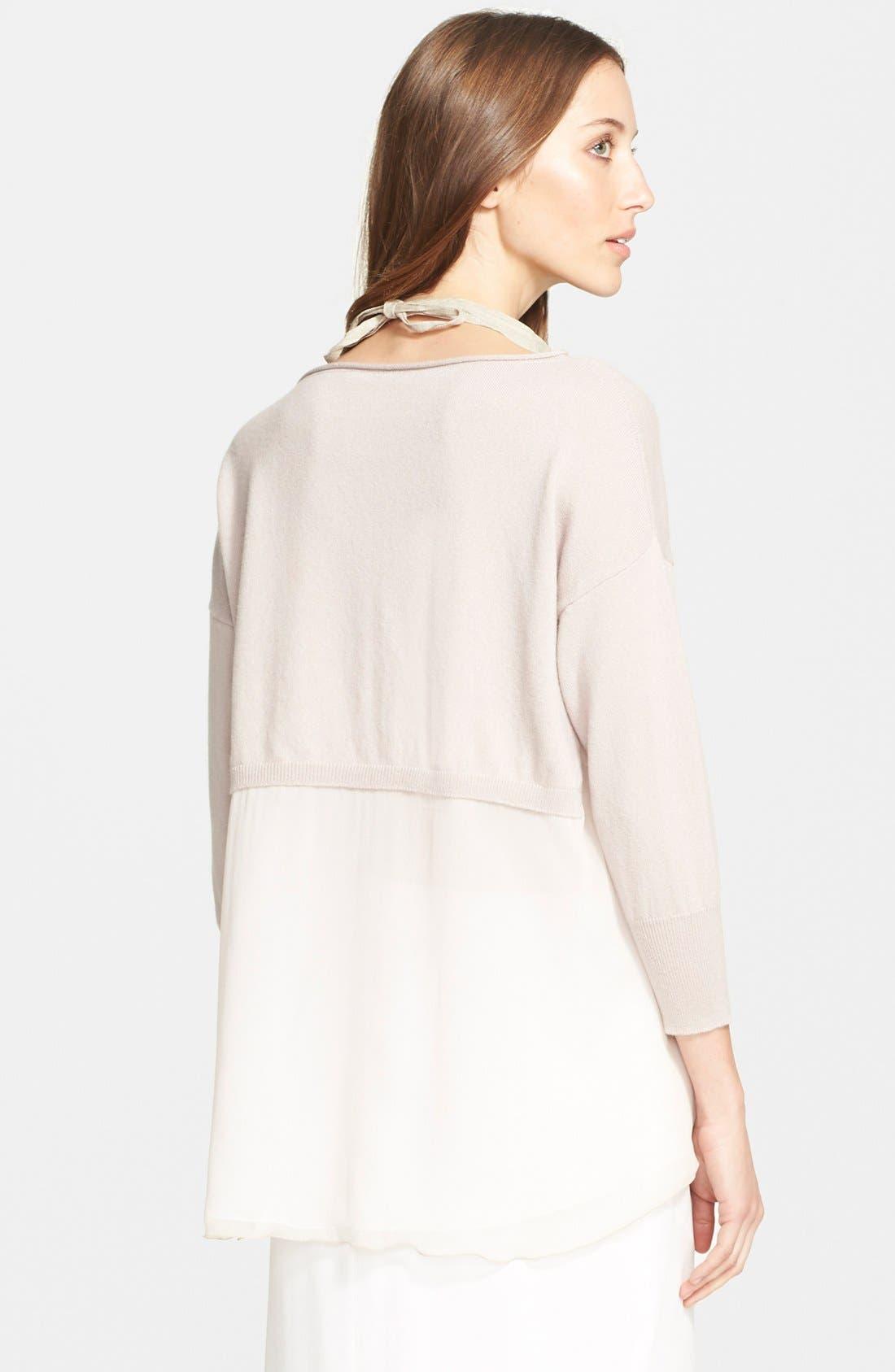 Alternate Image 2  - Fabiana Filippi Chiffon Panel Cashmere Sweater