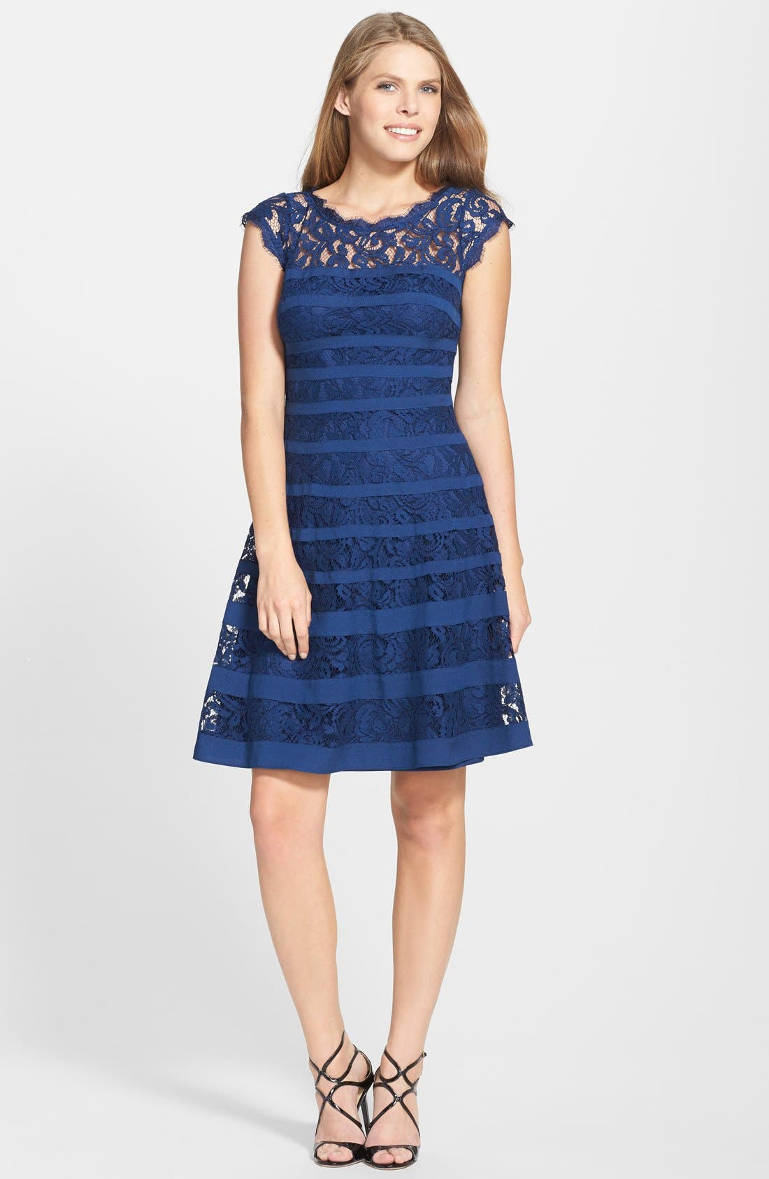 Alternate Image 3  - Adrianna Papell Banded Lace Fit & Flare Dress