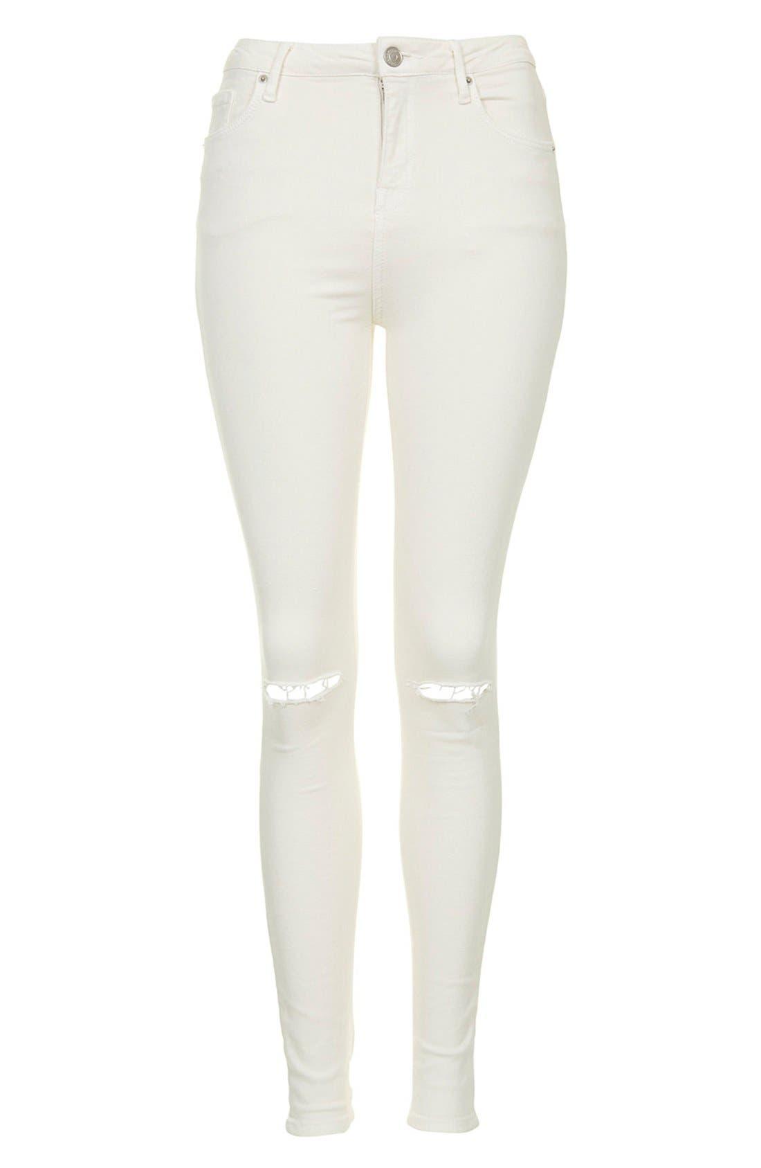 Alternate Image 3  - Topshop Moto 'Jamie' Ripped Jeans (White)