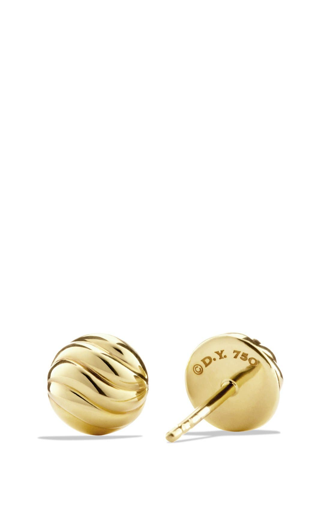 'Sculpted Cable' Stud Earring in Gold,                             Alternate thumbnail 2, color,                             Gold