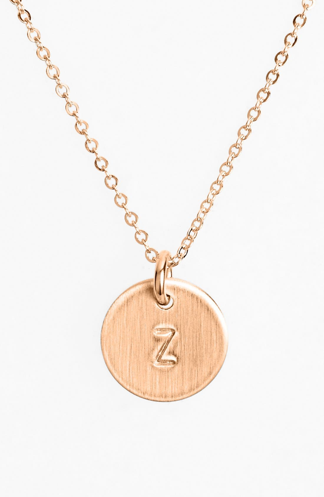 14k-Rose Gold Fill Initial Mini Disc Necklace,                             Main thumbnail 1, color,                             14K Rose Gold Fill Z