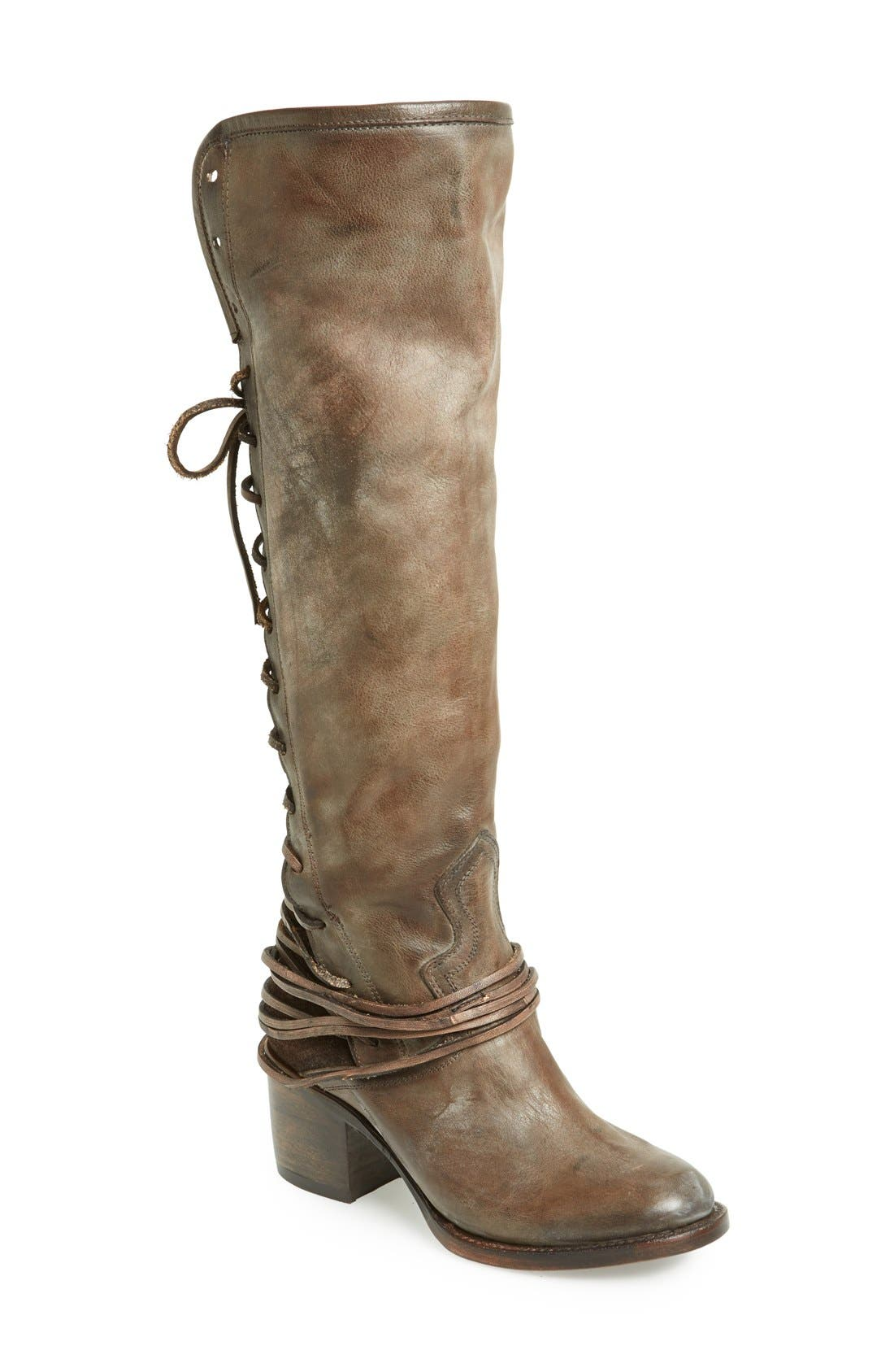 'Coal' Tall Leather Boot,                         Main,                         color, Grey