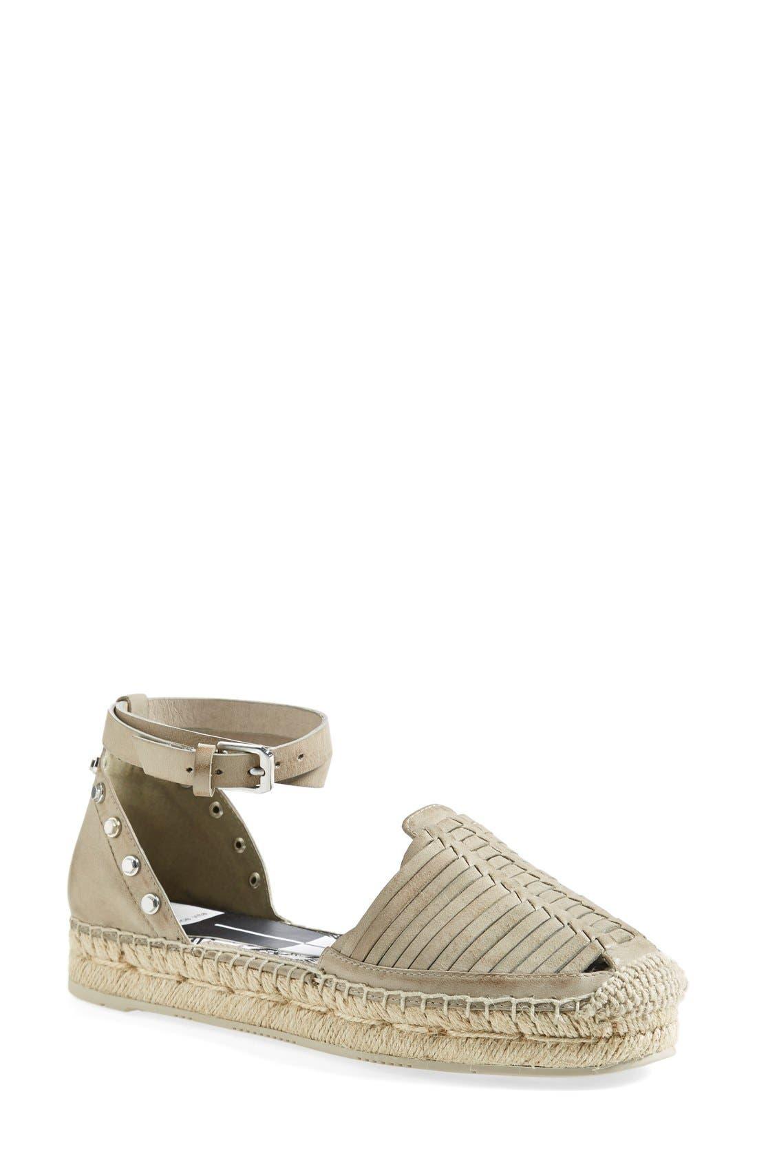 'Ceyla' Leather Ankle Strap Espadrille,                         Main,                         color, Fresco