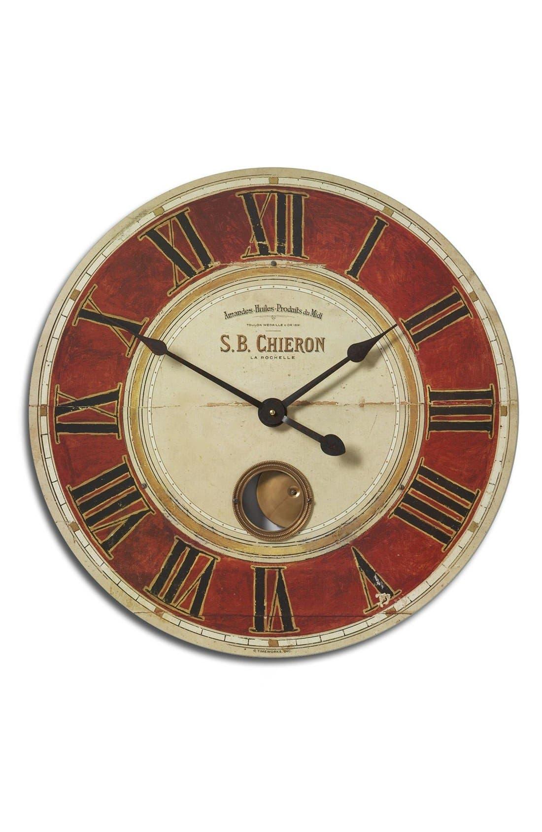 'Chieron' Wall Clock,                             Main thumbnail 1, color,                             Red