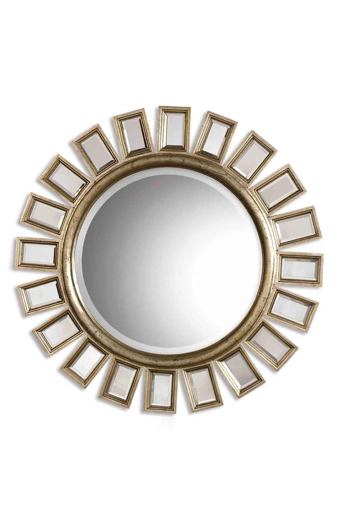 'Cyrus' Round Mirror,                         Main,                         color, Silver
