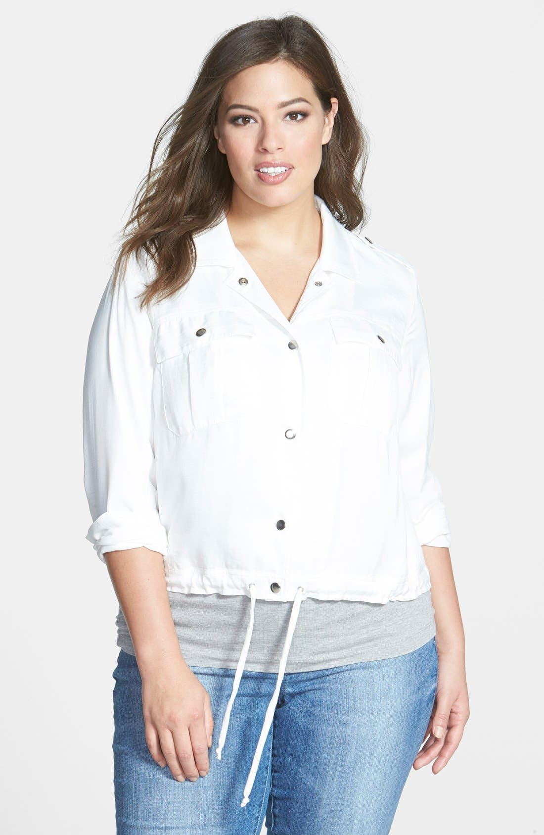 Alternate Image 1 Selected - Sejour Patch Pocket Crop Jacket (Plus Size)
