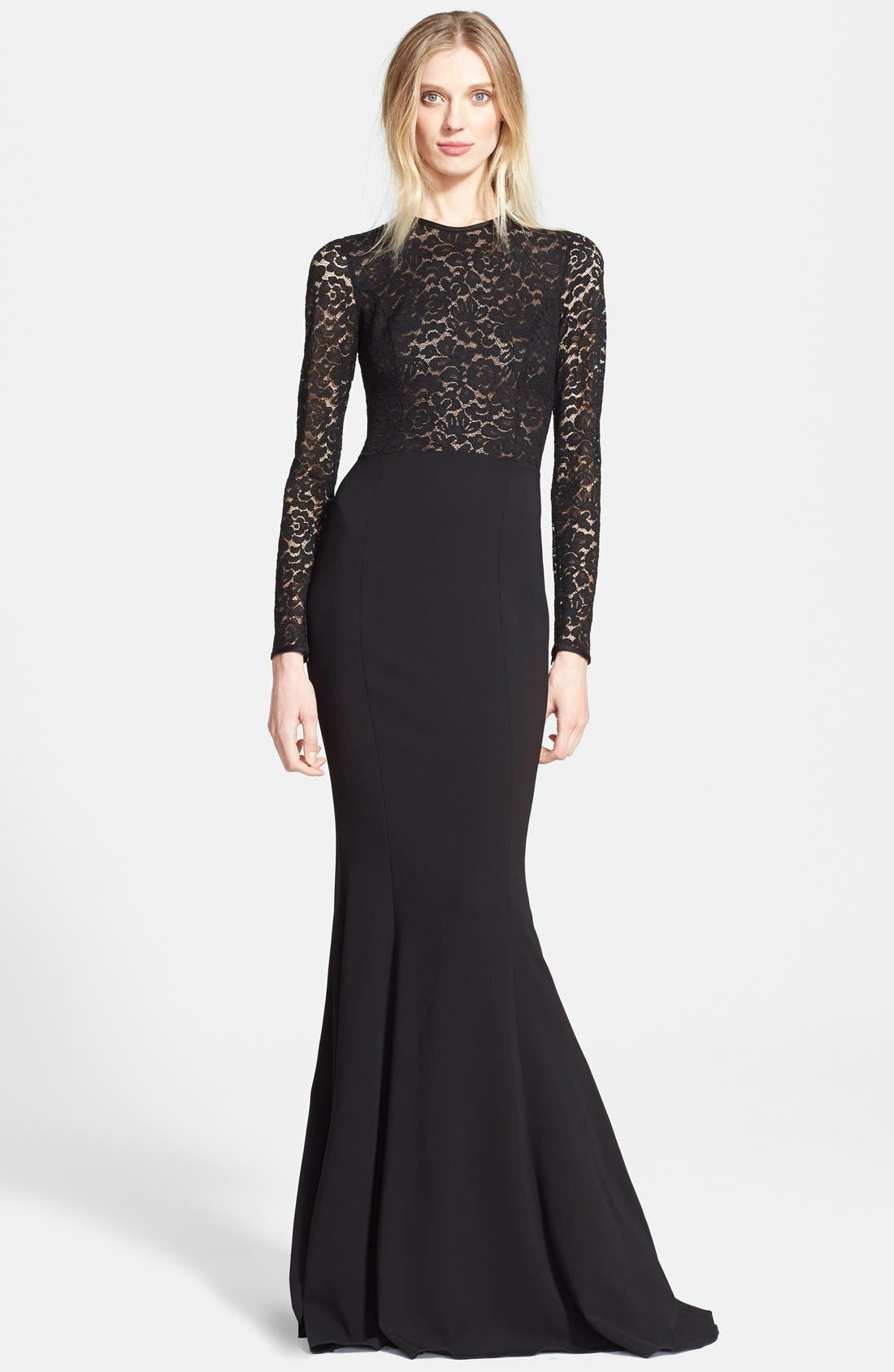 Alternate Image 1 Selected - Michael Kors Illusion Lace Crepe Cady Fishtail Gown