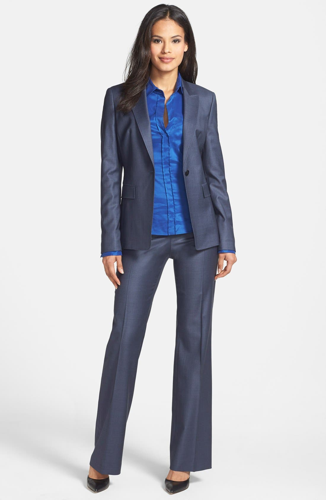 'Temuna' Wool Blend Suiting Trousers,                             Alternate thumbnail 4, color,                             Electric Blue Fantasy Melange