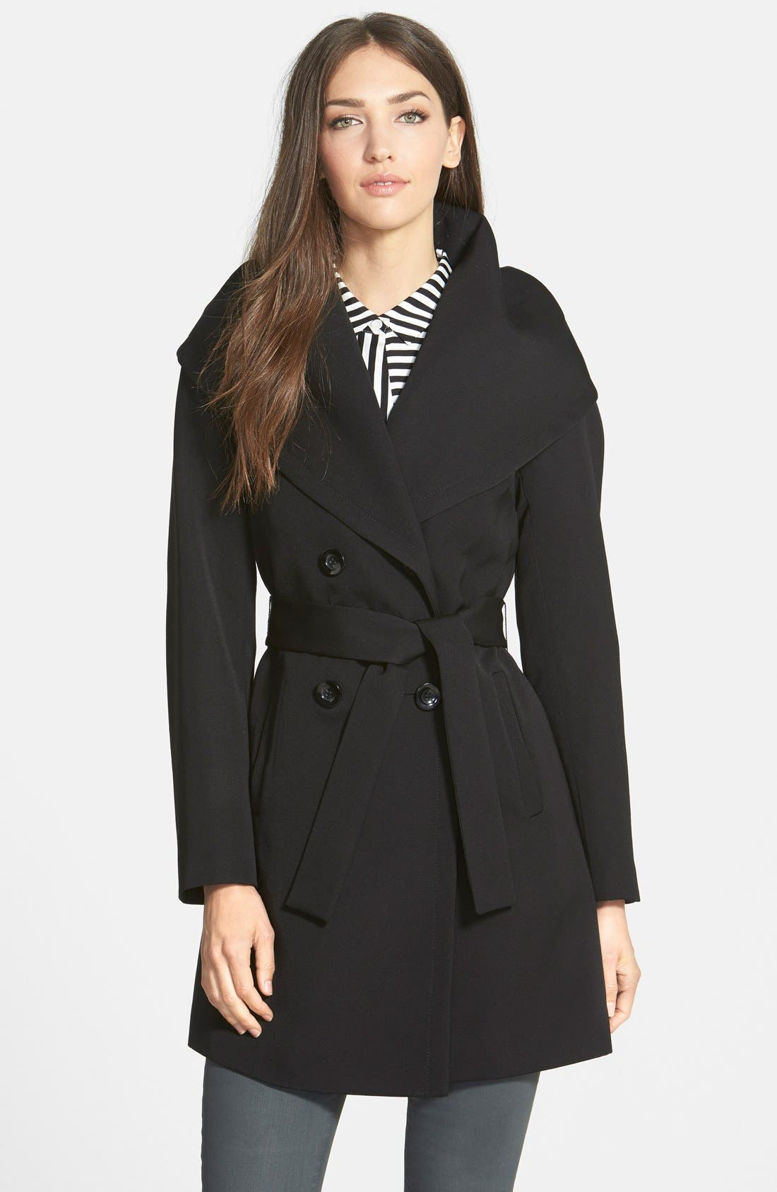 Trina Turk 'Shelly Ali' Hooded Wool Gabardine Wrap Coat (Regular & Petite)