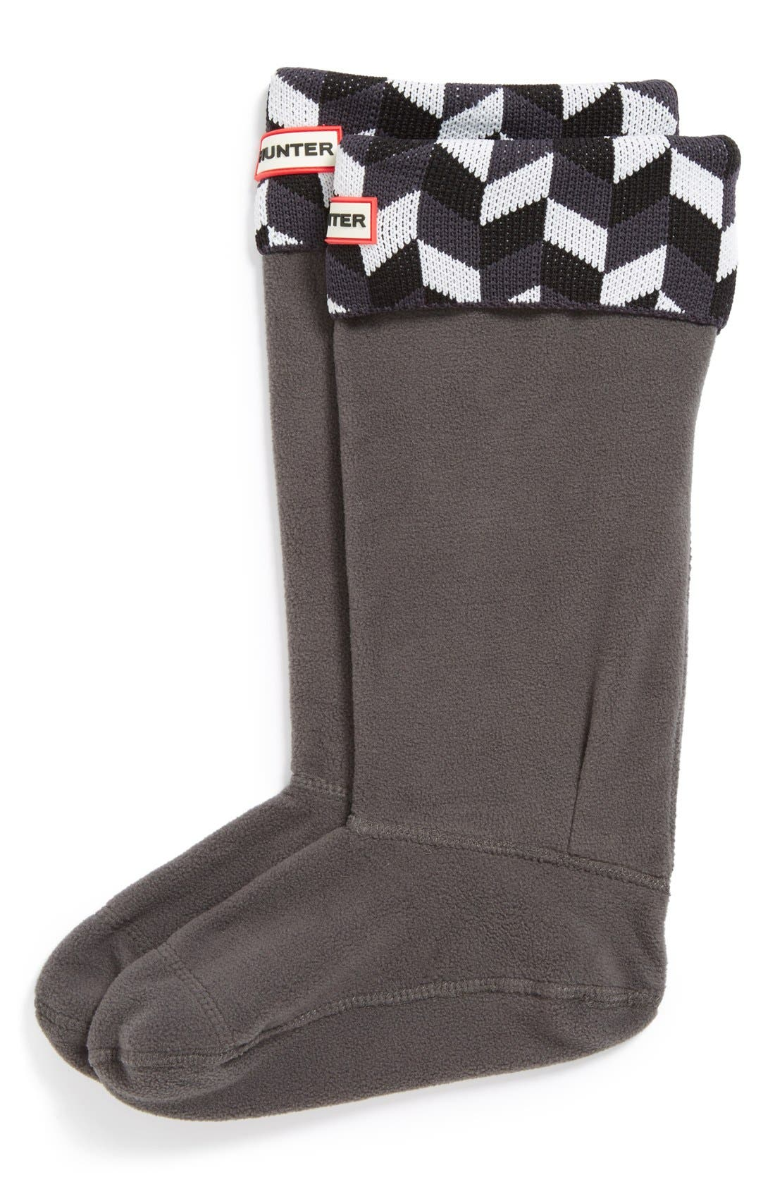 Hunter 'Geometric Dazzle' Original Tall Fleece Welly Socks