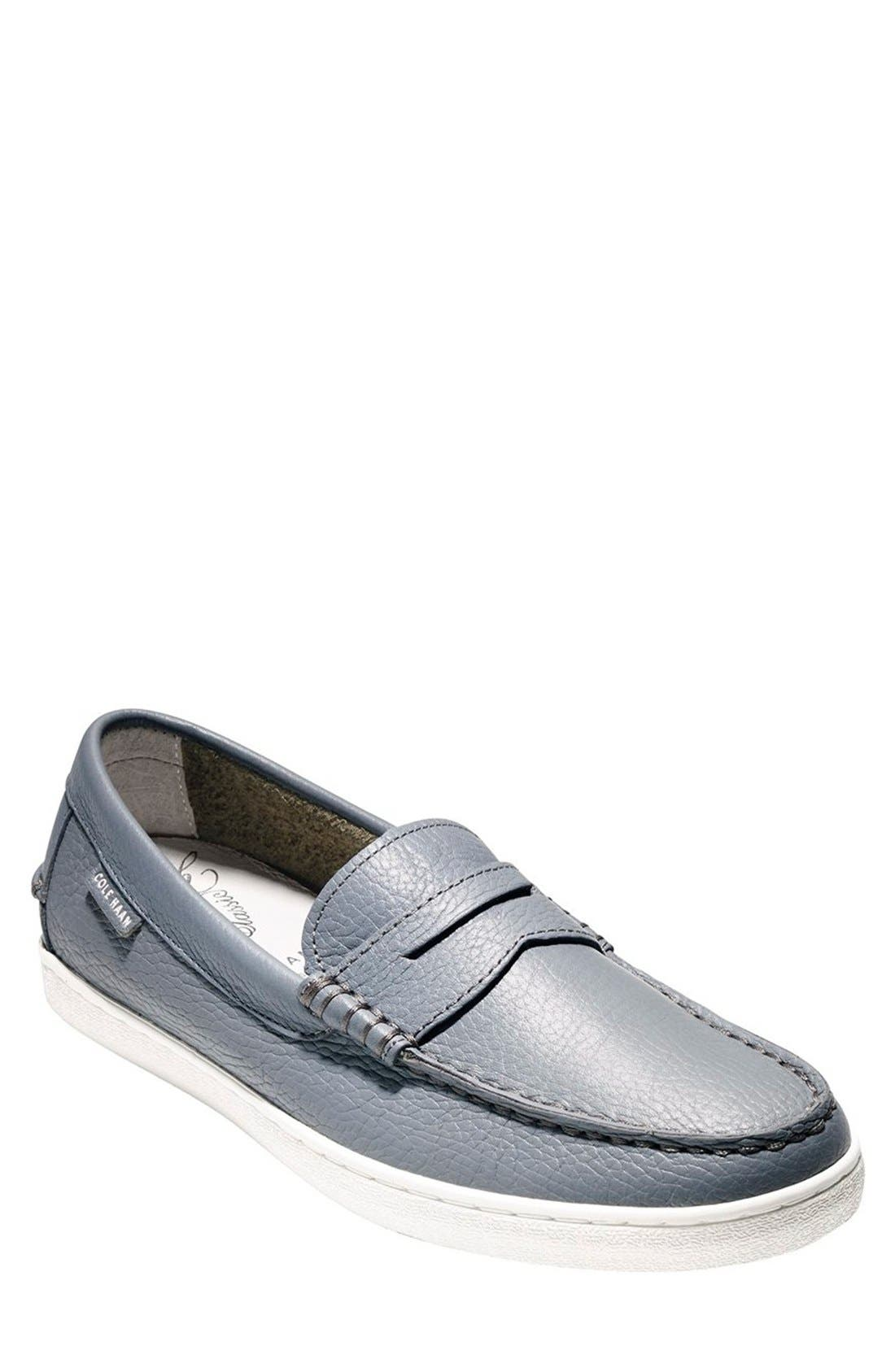 'Pinch' Penny Loafer,                             Main thumbnail 1, color,                             Grey Leather/ White