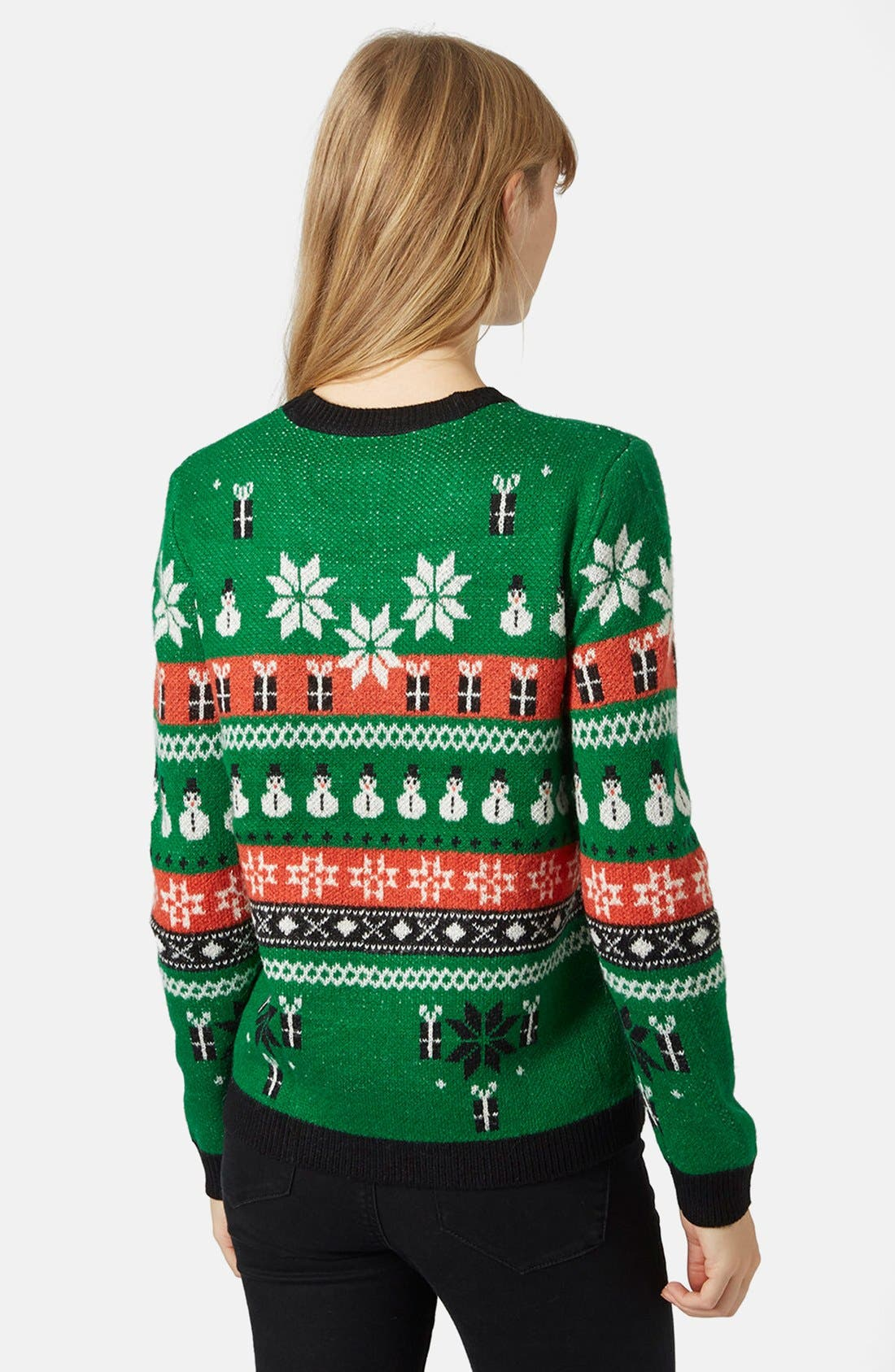 Holiday Fair Isle Sweater,                             Alternate thumbnail 2, color,                             Green Multi